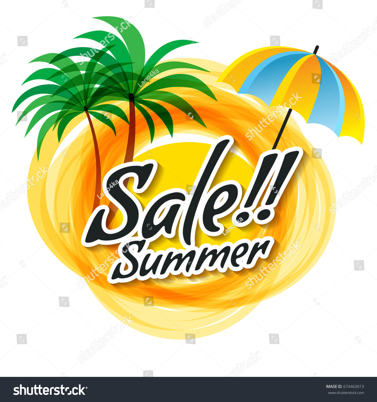 Yellow Abstract Sun Summer Sale Text Stock Vector Royalty Free