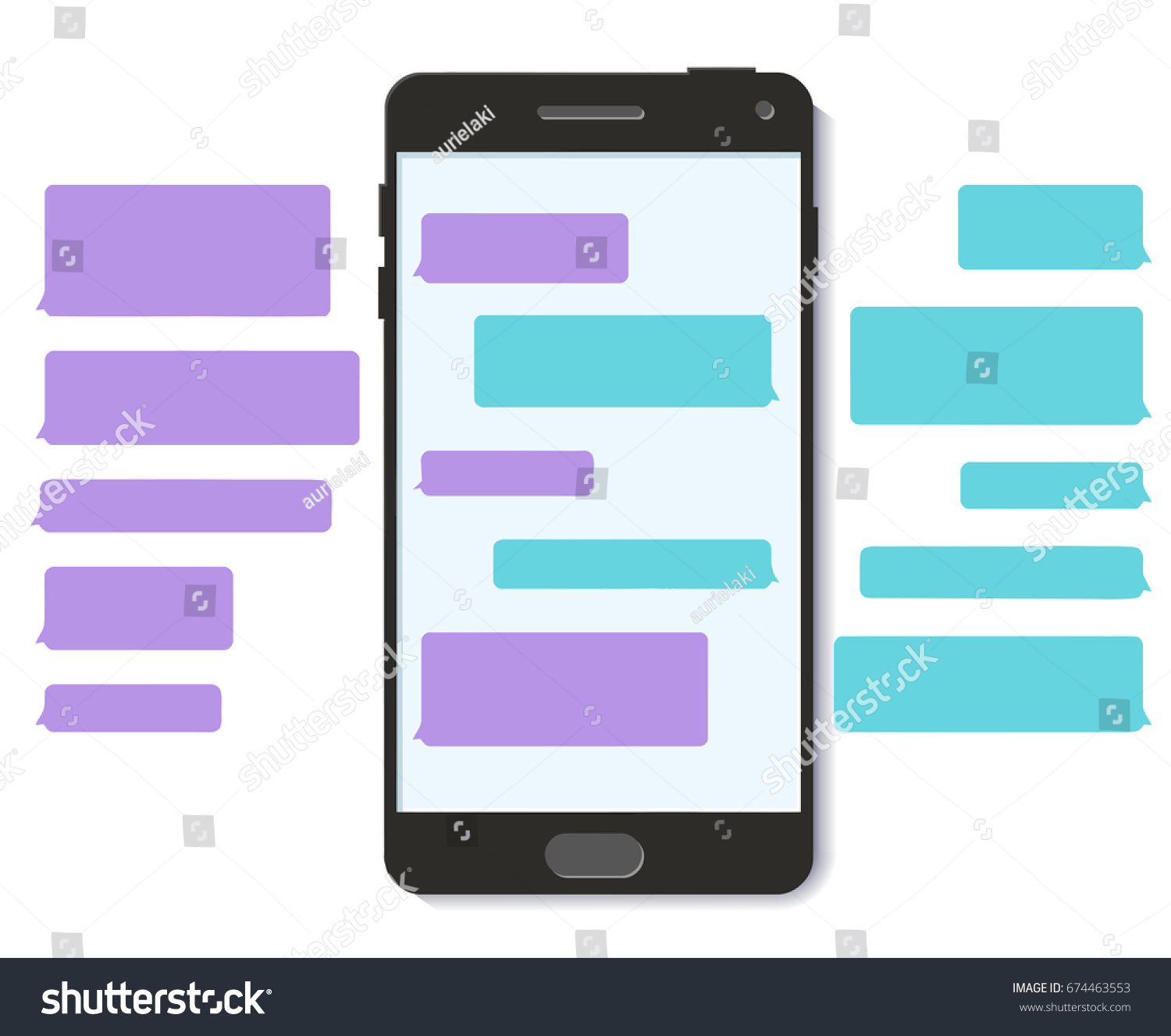 Chatbot chat text message bubble template stock illustration chatbot chat text message bubble template 3d flat mobile interface illustration maxwellsz