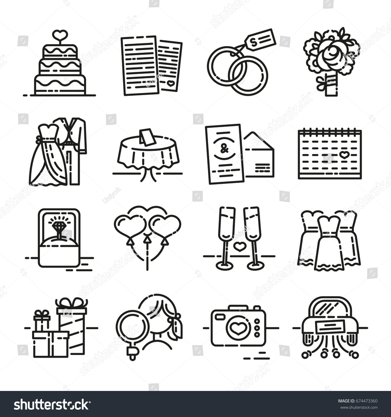 Set Line Icon Wedding Symbols Groom Stock Vector Royalty Free