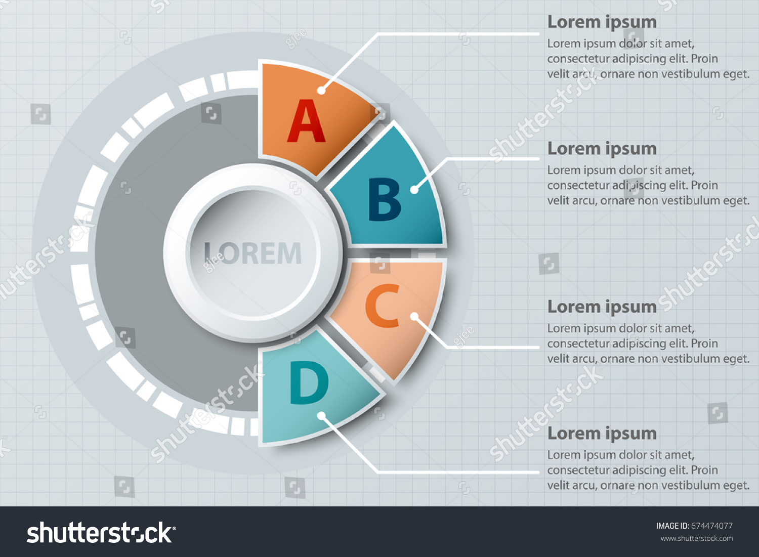 Four Topics Colorful Half Pie Chart Stock Vector Royalty Free