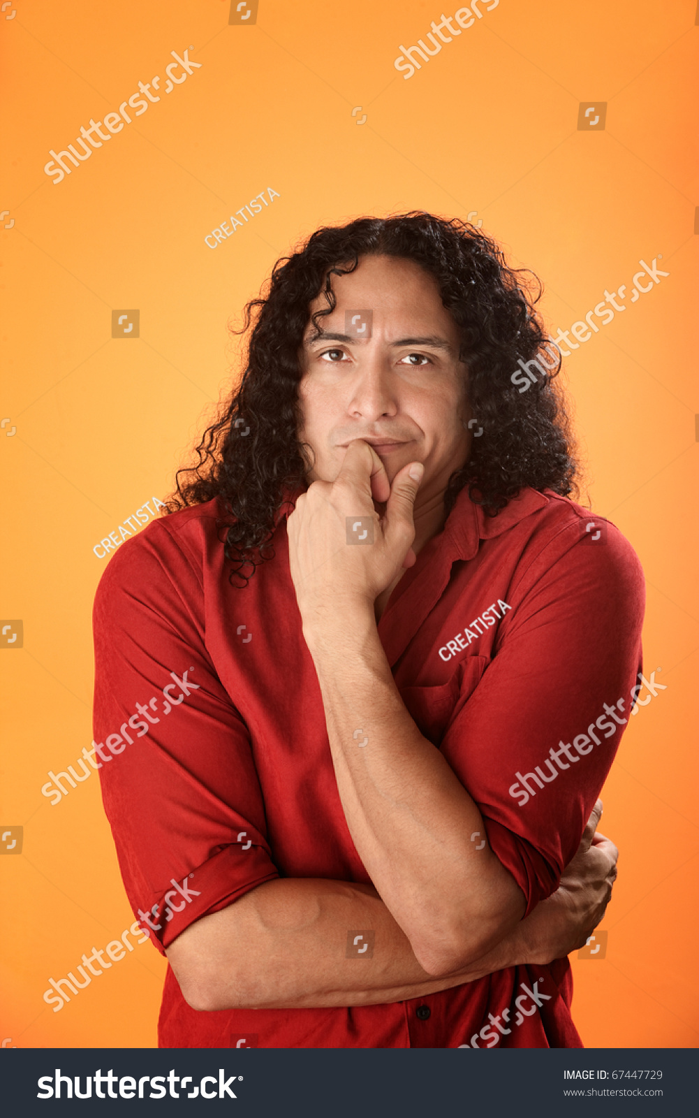 Handsome Native American Man Curly Hair Stock Photo Edit Now
