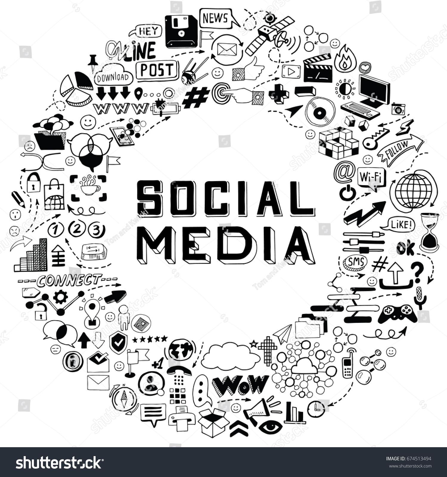 Set Hand Drawn Social Media Objects Stock Vector (2018) 674513494 ...