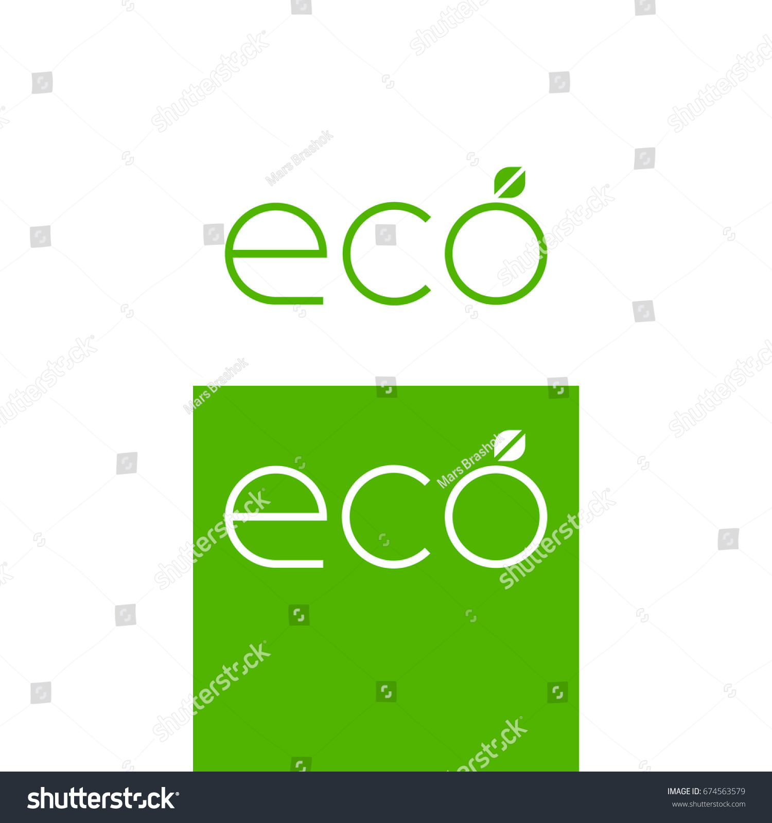 Eco Green Vector Logo Minimalistic Symbol Stock Photo Photo Vector