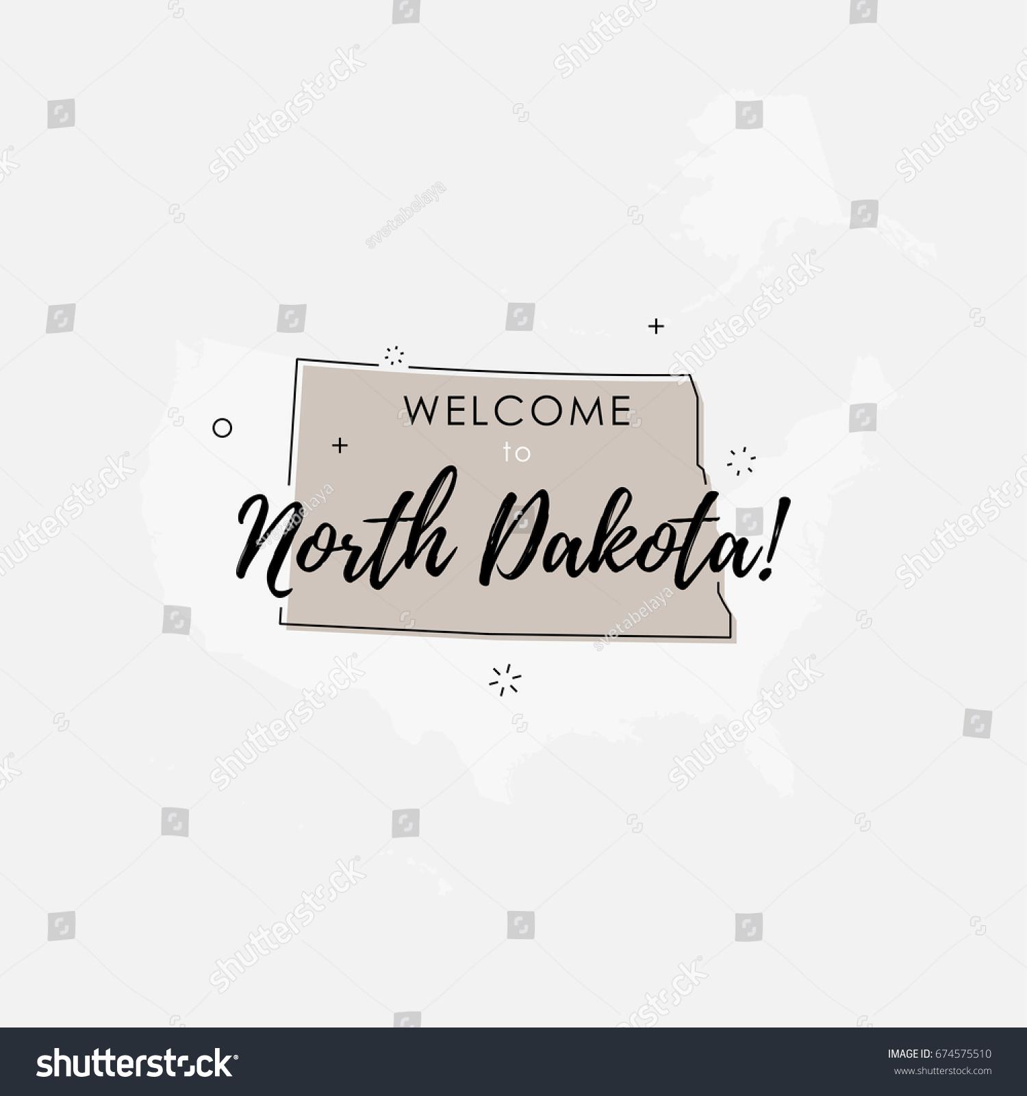 Vector Illustration North Dakota State Map Stock Vector 674575510