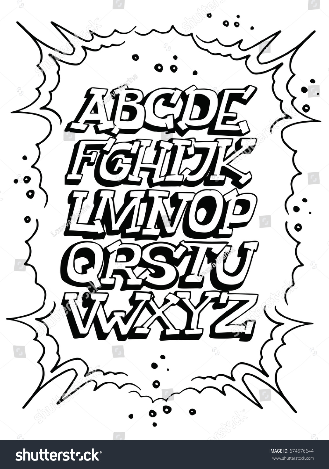 Graffiti alphabet graffiti elements around the font street style vector letters