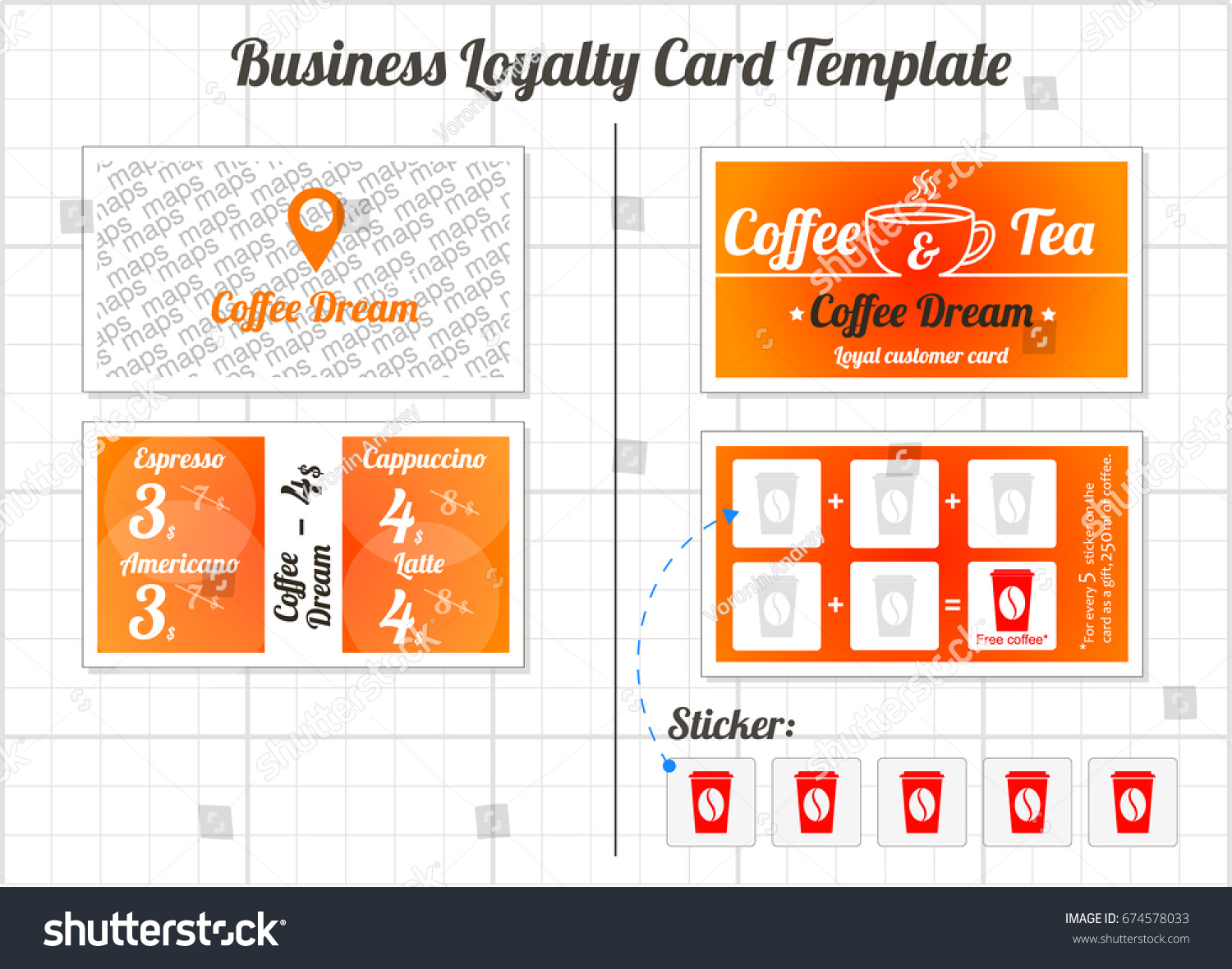 Set Loyalty Cards Template Coffee Shop Stock Vector - Loyalty card template