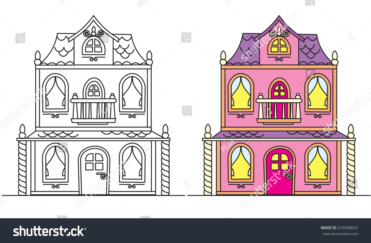 coloring pages kids pretty pink vintage stock vector 674598055