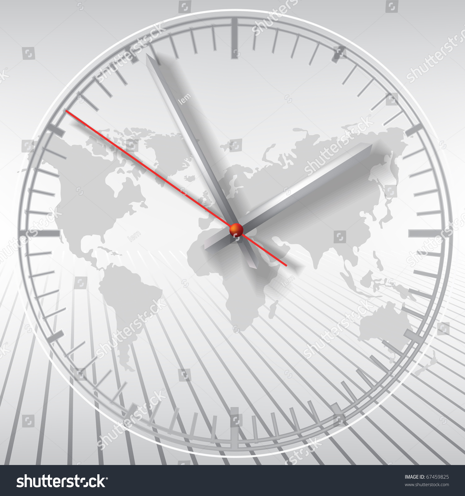 Grey clock on world map abstract stock vector 67459825 shutterstock gumiabroncs Images