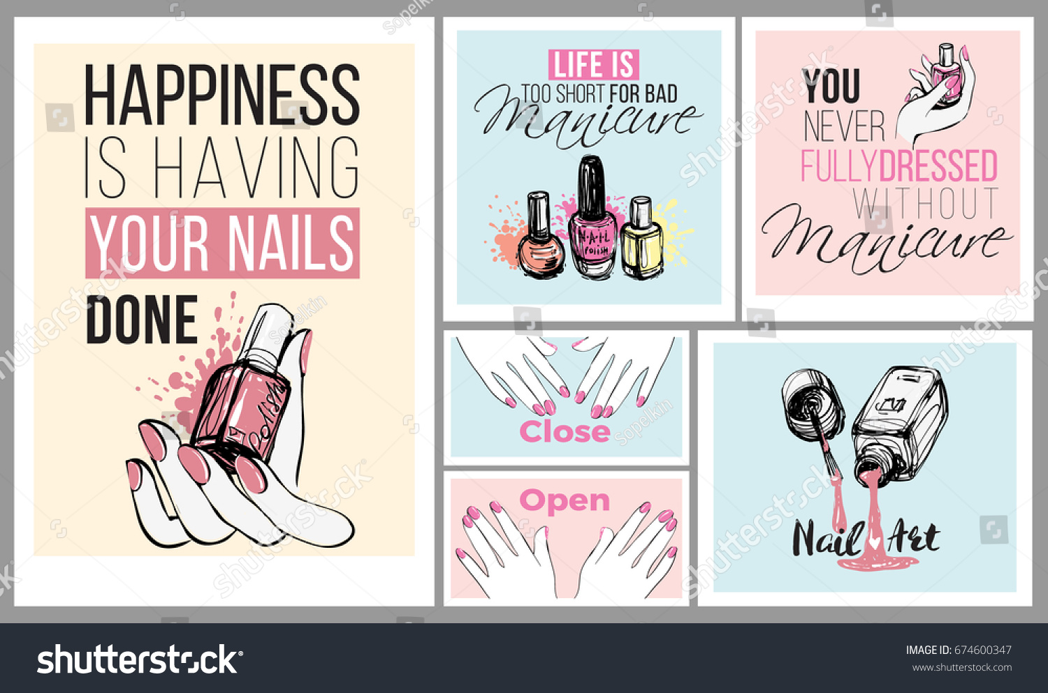collection of manicure salon positive banners fashion illustrations in watercolor style nail lacquer