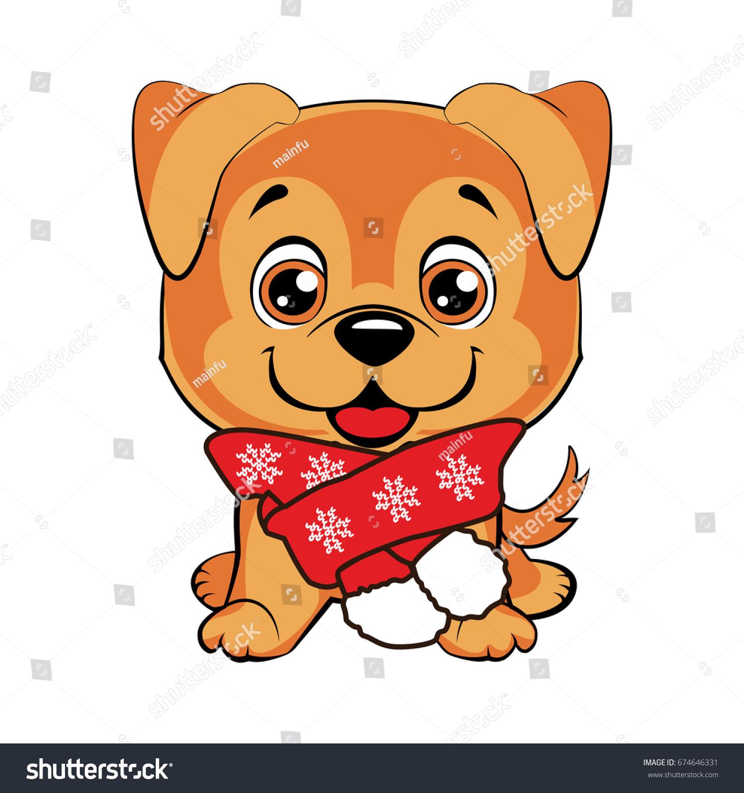Doggy Scarf Happy Dog Cartoon Cute Stock Vector Royalty Free 674646331