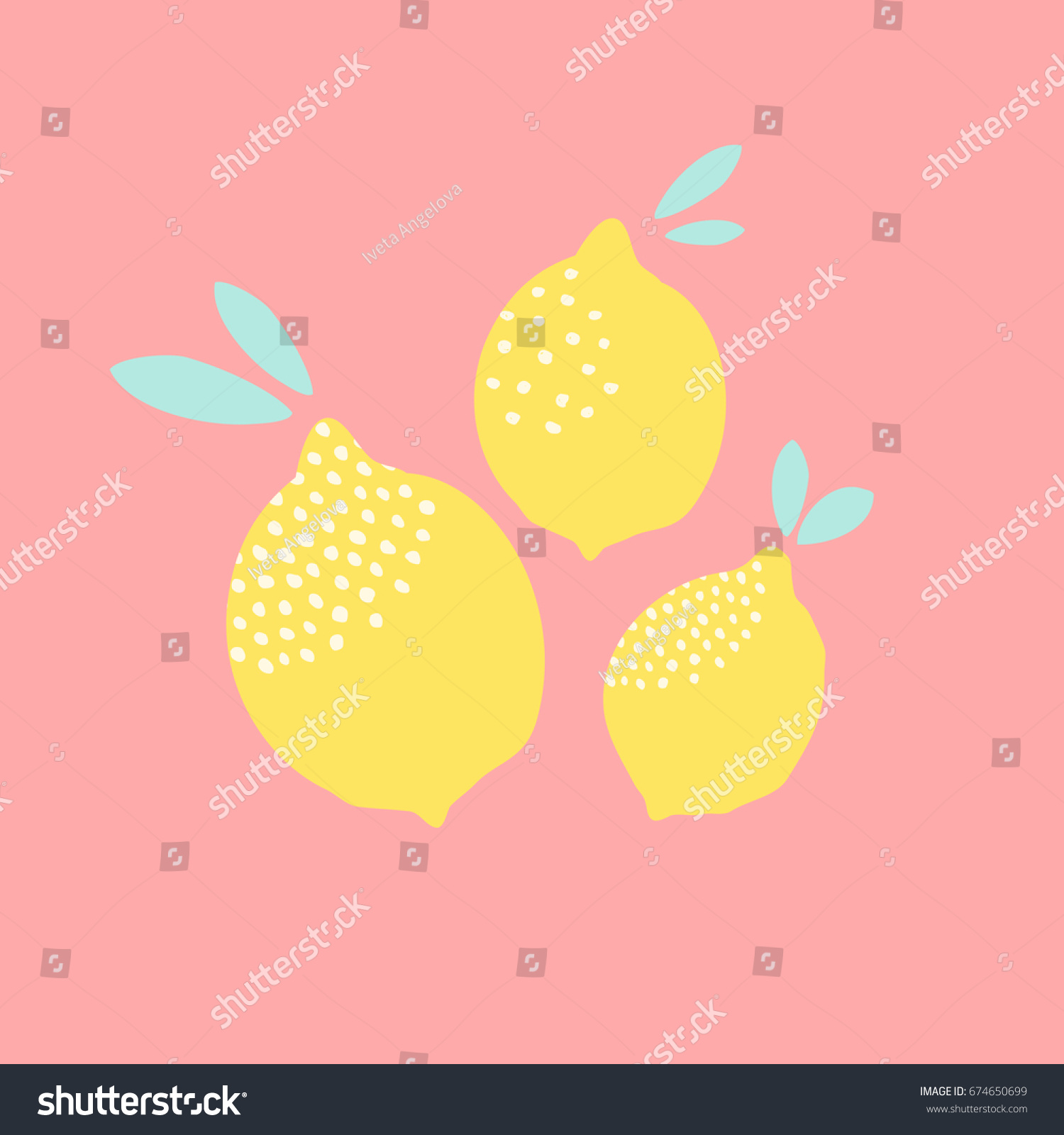 Cute Card Design Lemons Yellow On Stock Vector 674650699 - Shutterstock
