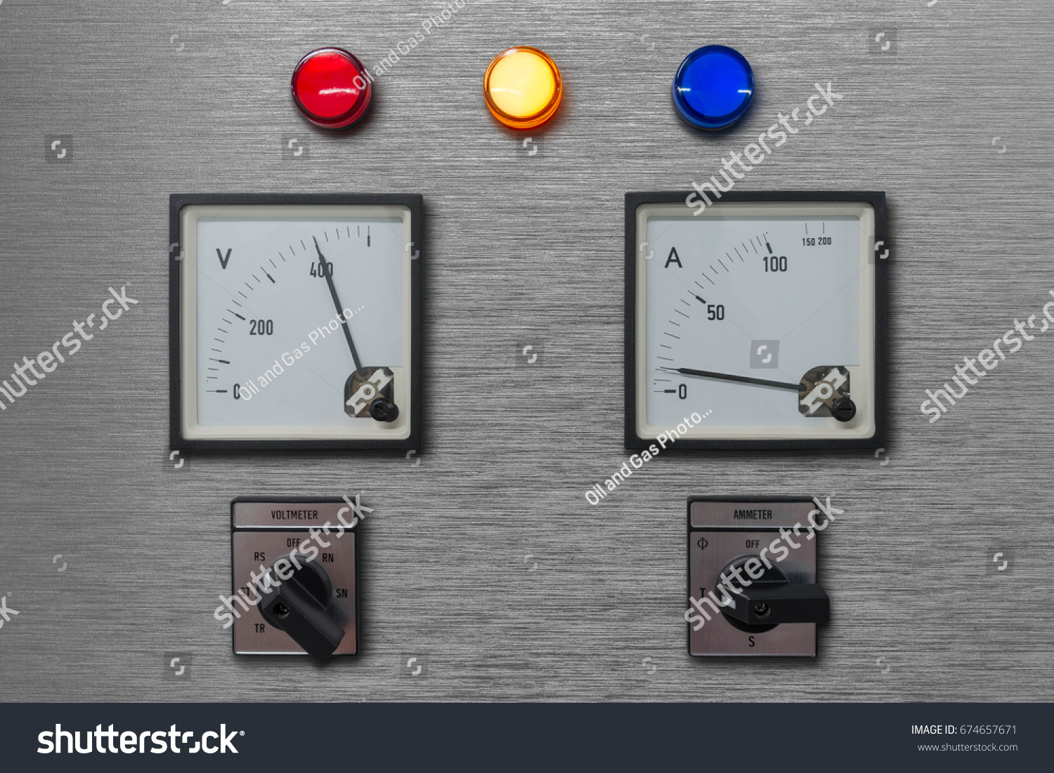 Electrical Control Panel Volt Amp Meter Stock Photo (Edit Now ...