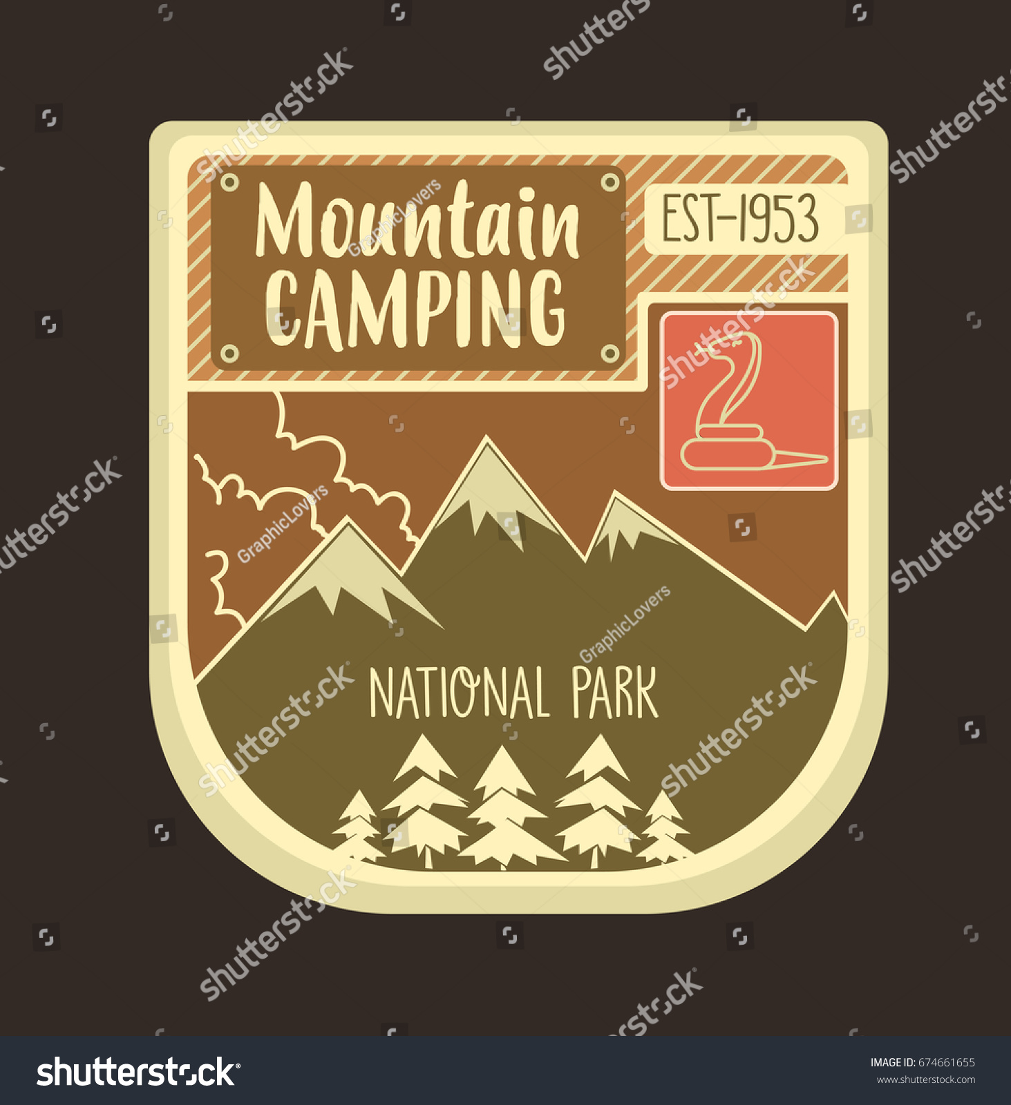 Mountain retro logo and emblem with stroked snake can be used for badges stickers web design etc vector