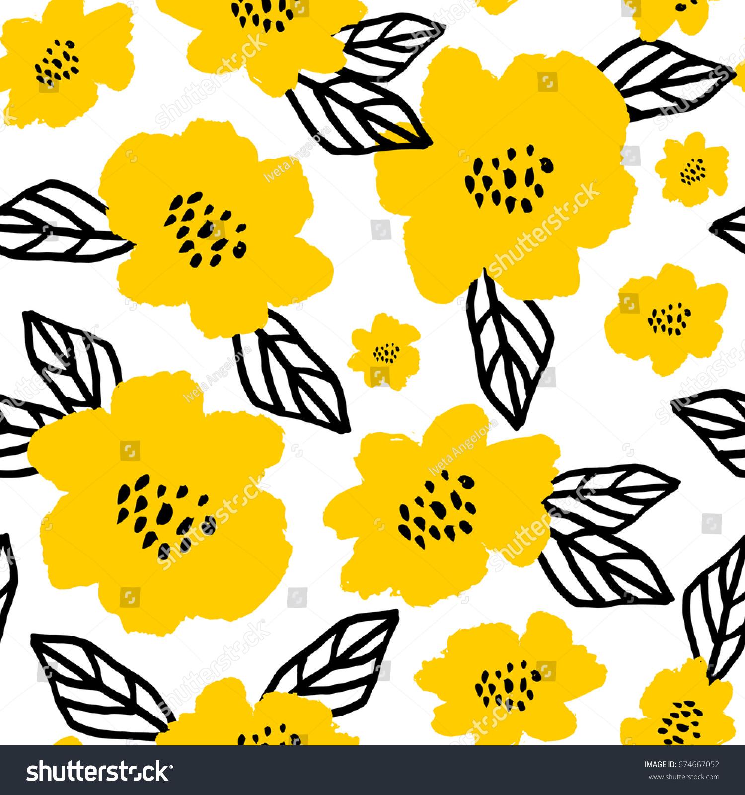 Seamless Repeat Pattern Flowers Leaves Black Stock Vector 674667052 ...