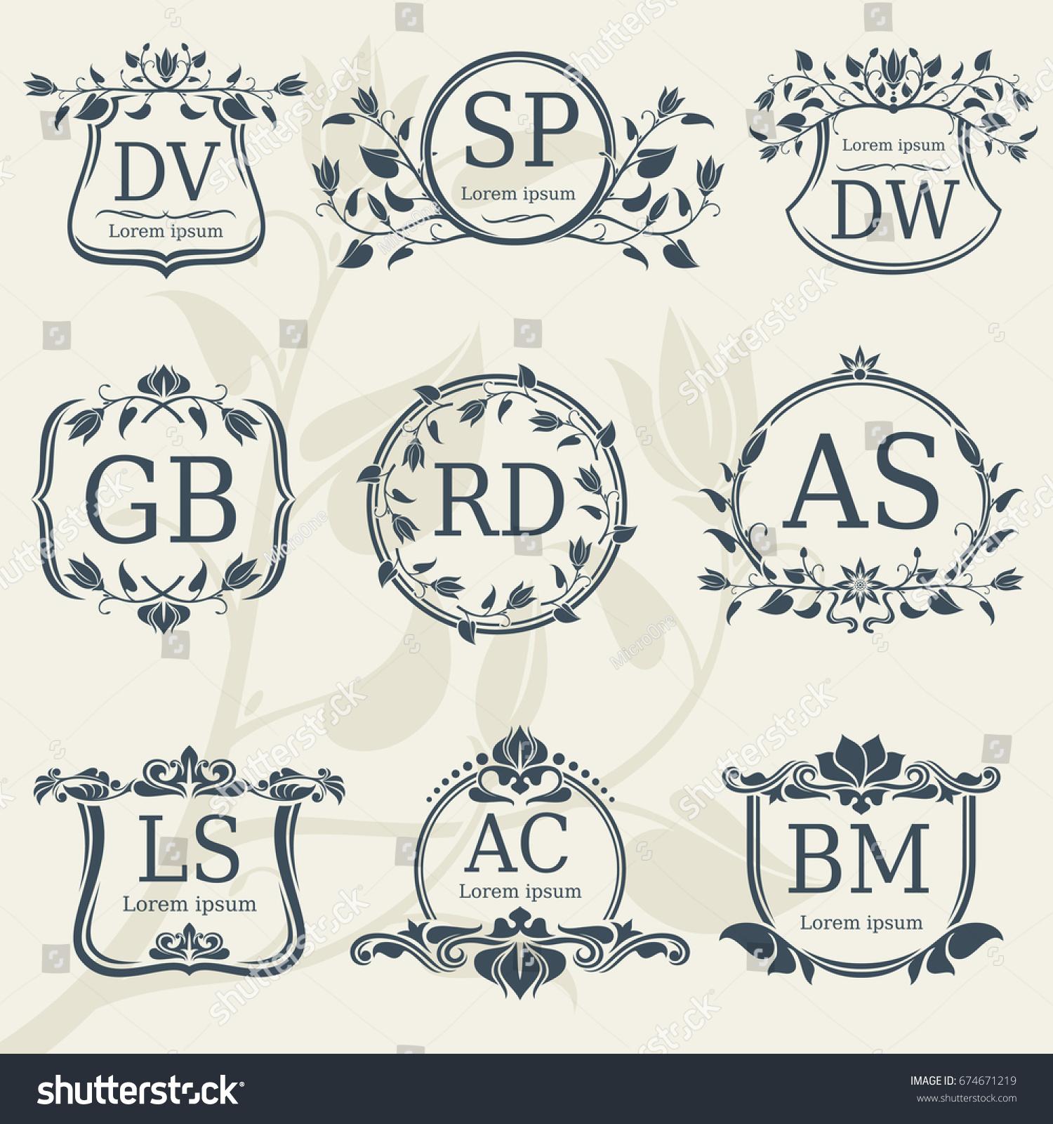 Vintage Elegance Wedding Monograms Floral Frames Stock Vector Royalty Free 674671219