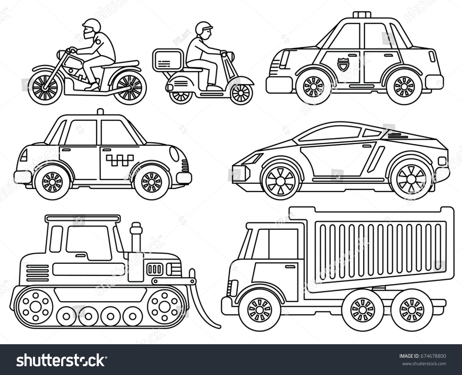 Coloring pictures of cars truck tractors - Coloring Book For Kids Hand Drawn Cartoon Transport Cars Truck Bike