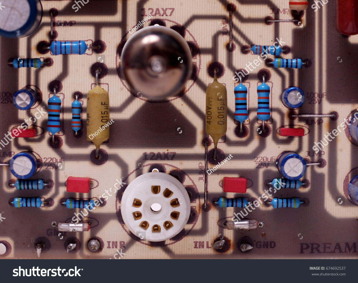 Old Used Rustic Print Circuit Board Stock Photo Edit Now 674692537 How To Make Printed Boards Diy Pcb Basic Audio Of A Tube Radio Amplifier Preamplifier Close Up