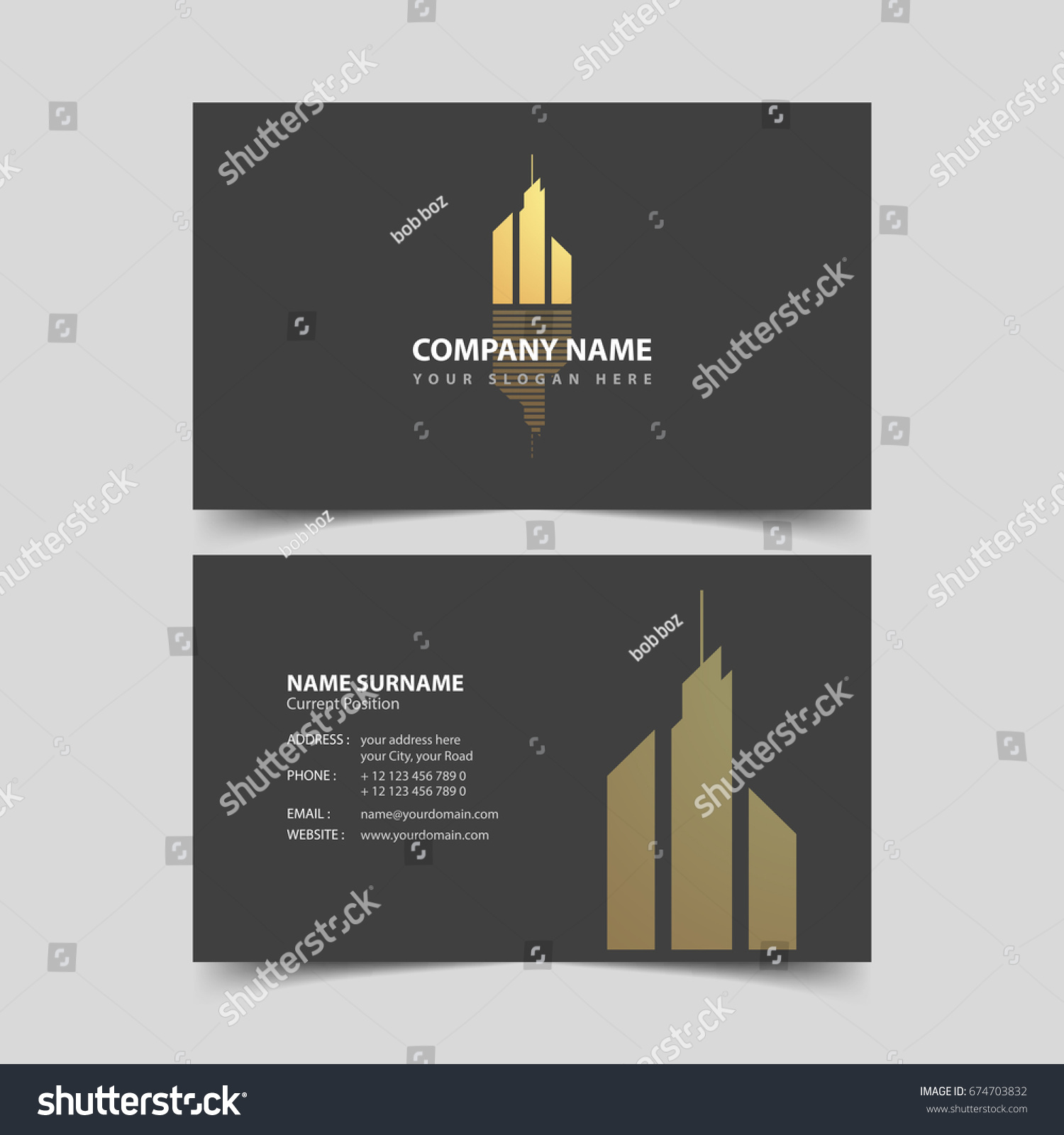 Realtor Business Card Design Template Stock Photo (Photo, Vector ...
