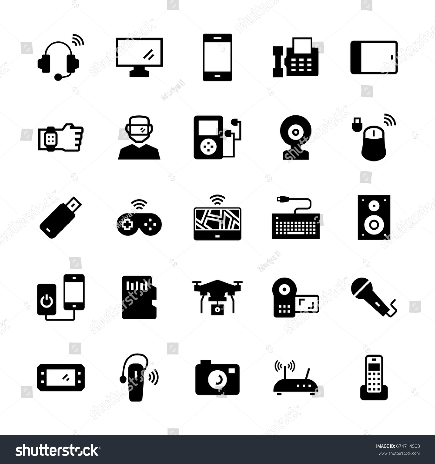 Electronicsgadgets Devices Icon Set Vector Symbols Stock Photo ...