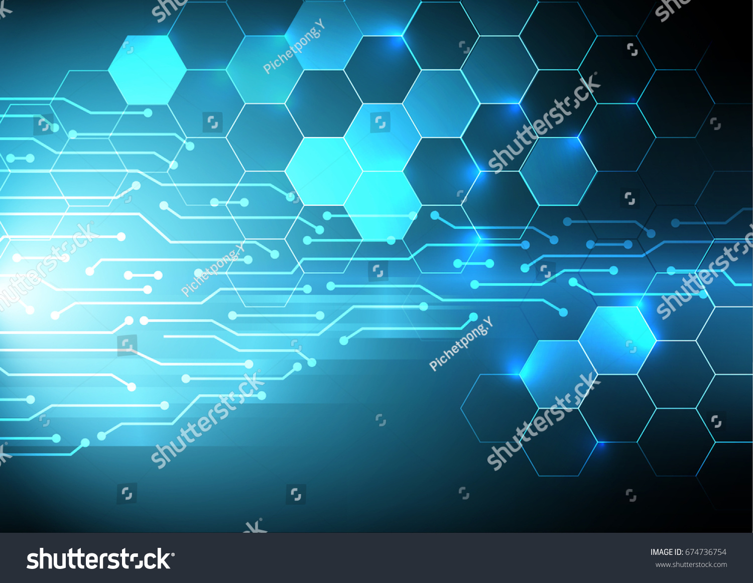 Digital Electric Circuit Abstract Background Blue Stock Vector ...