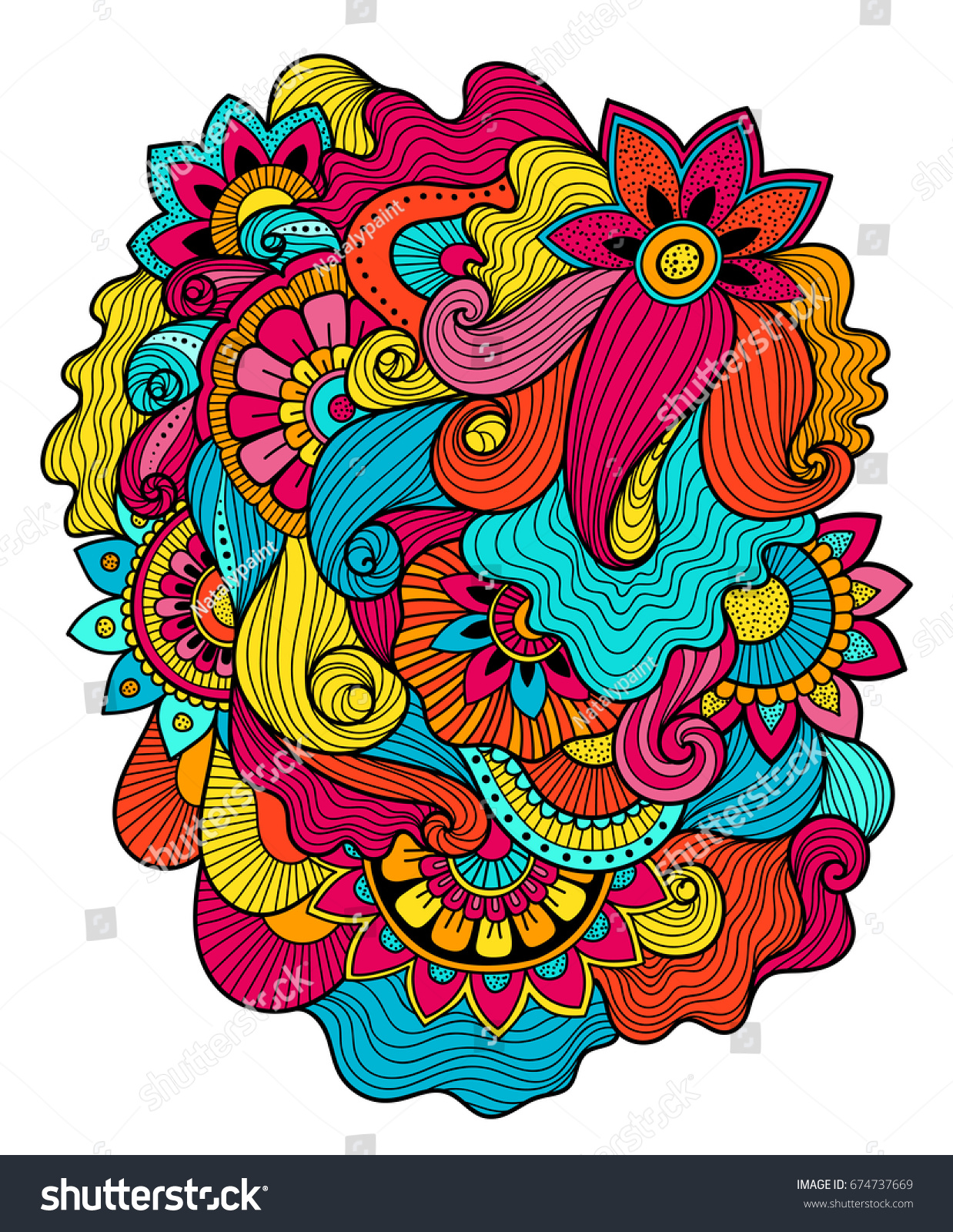 Beautiful Doodle Art Floral Composition Tattoo Stock Vector ...