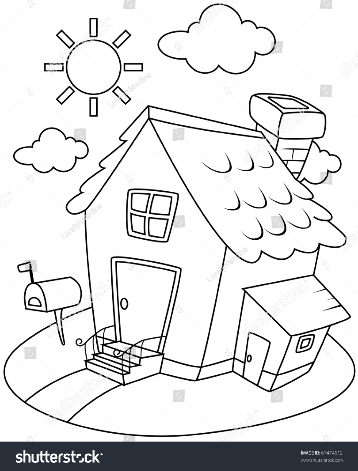 Line Art Illustration Of A Small House Complete With Sunny Backdrop Coloring Page