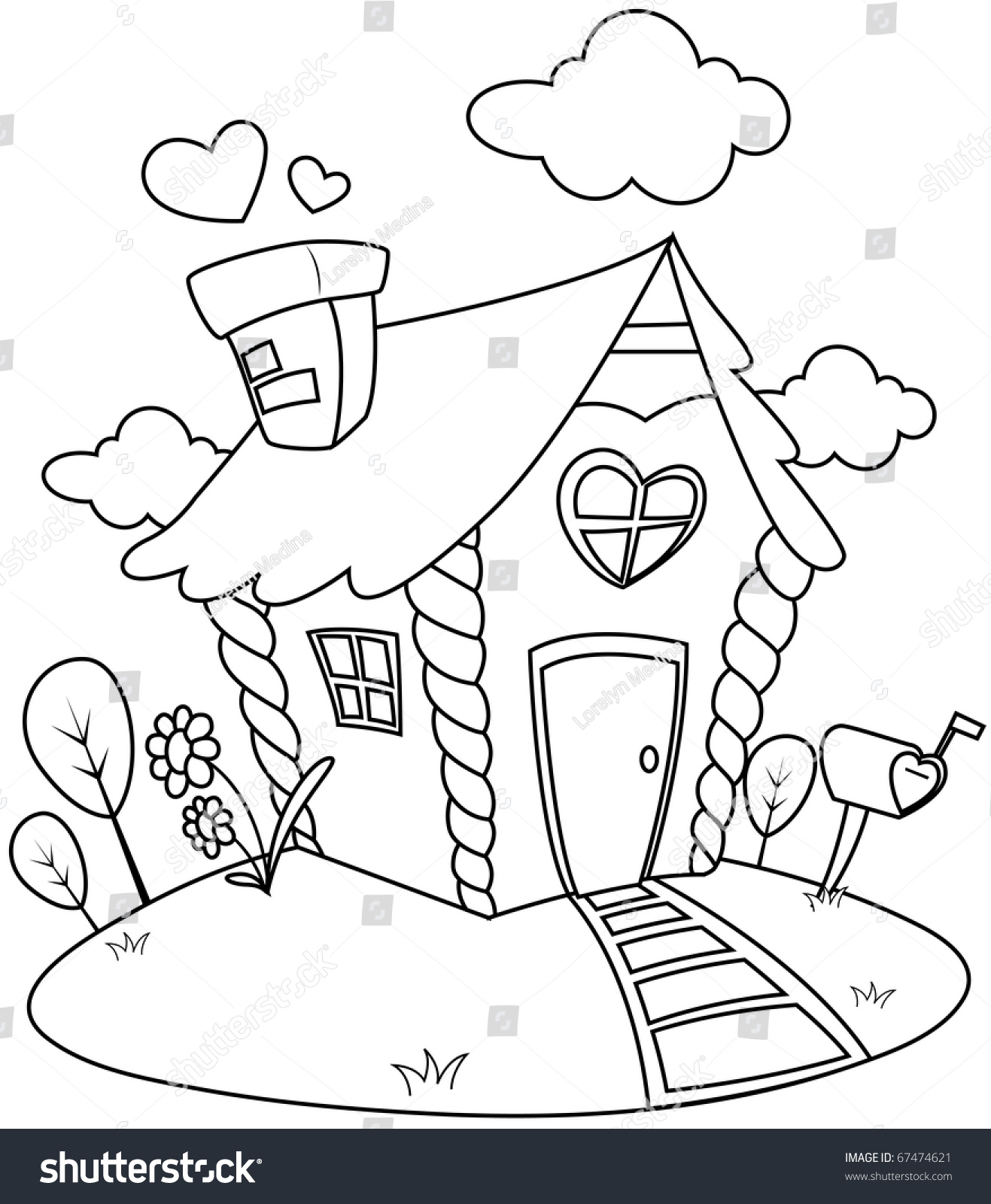 Line Art Illustration Of A Small House With Valentine Theme Coloring Page