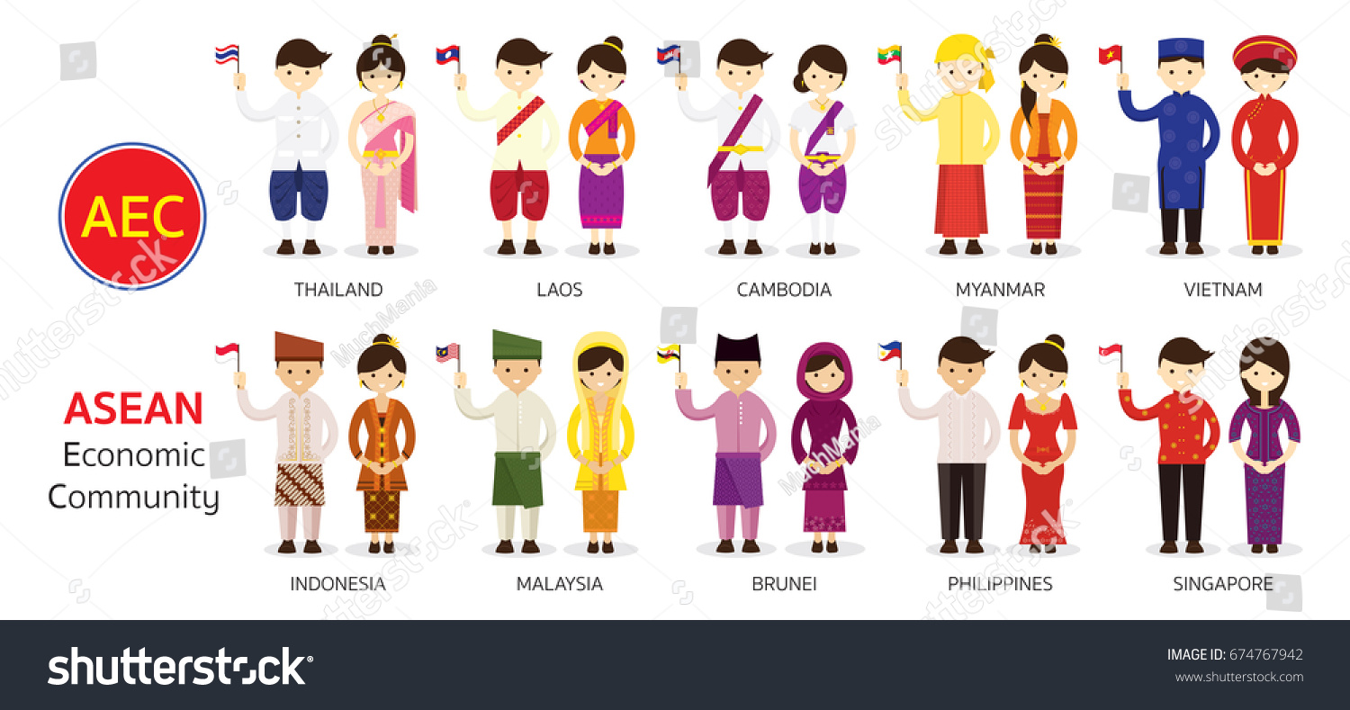 southeast asia people traditional clothing holding stock