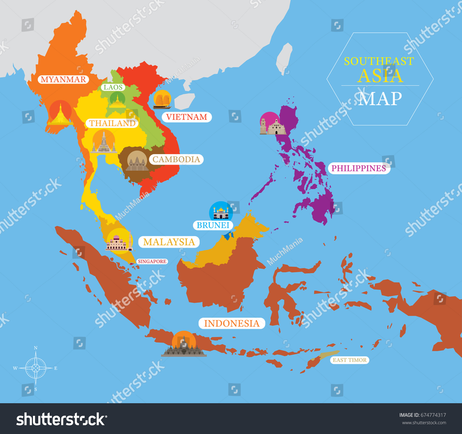 southeast asia map country icons location stock vector   - southeast asia map with country icons and location landmarks travel and touristattraction