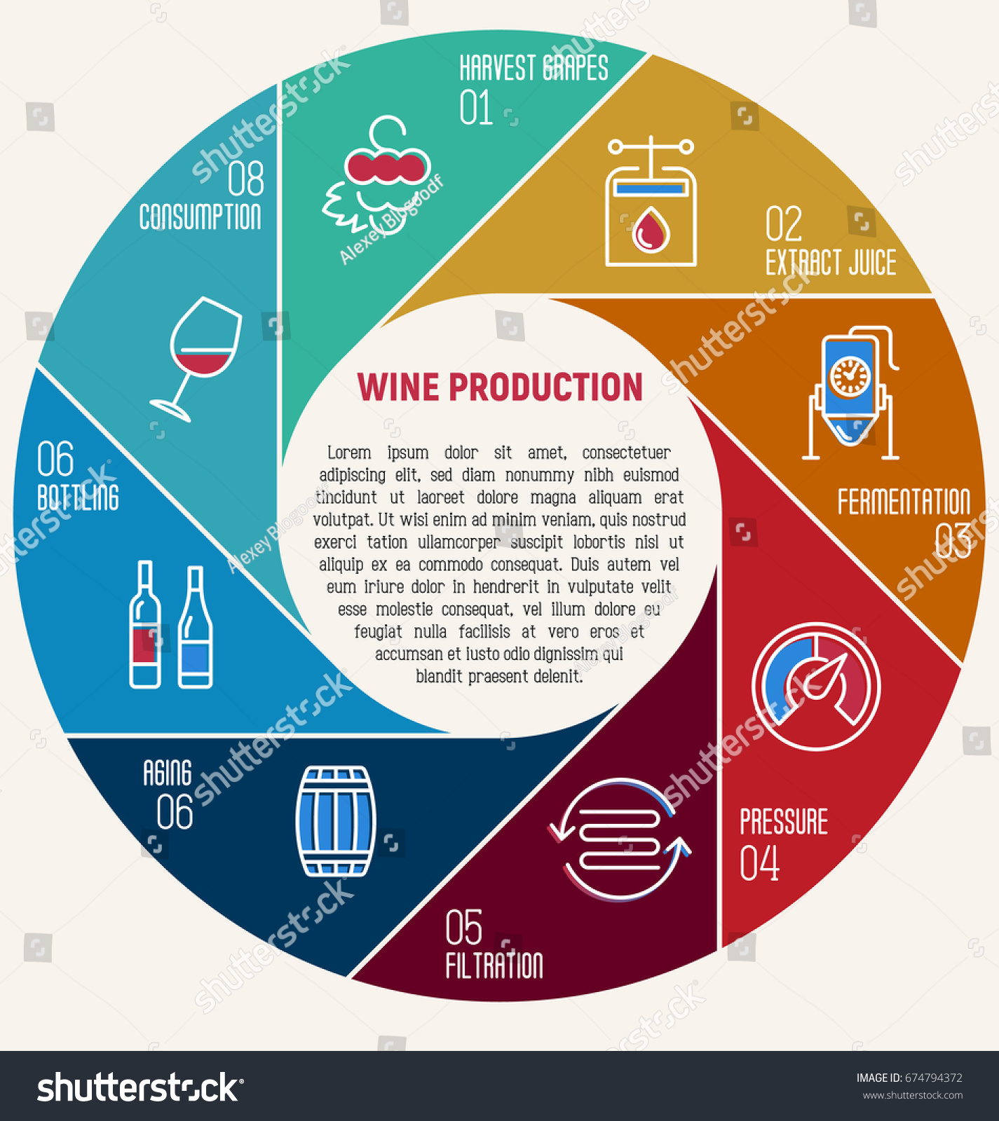 Thin Line Infographic Wine Fermentation Circle Stock