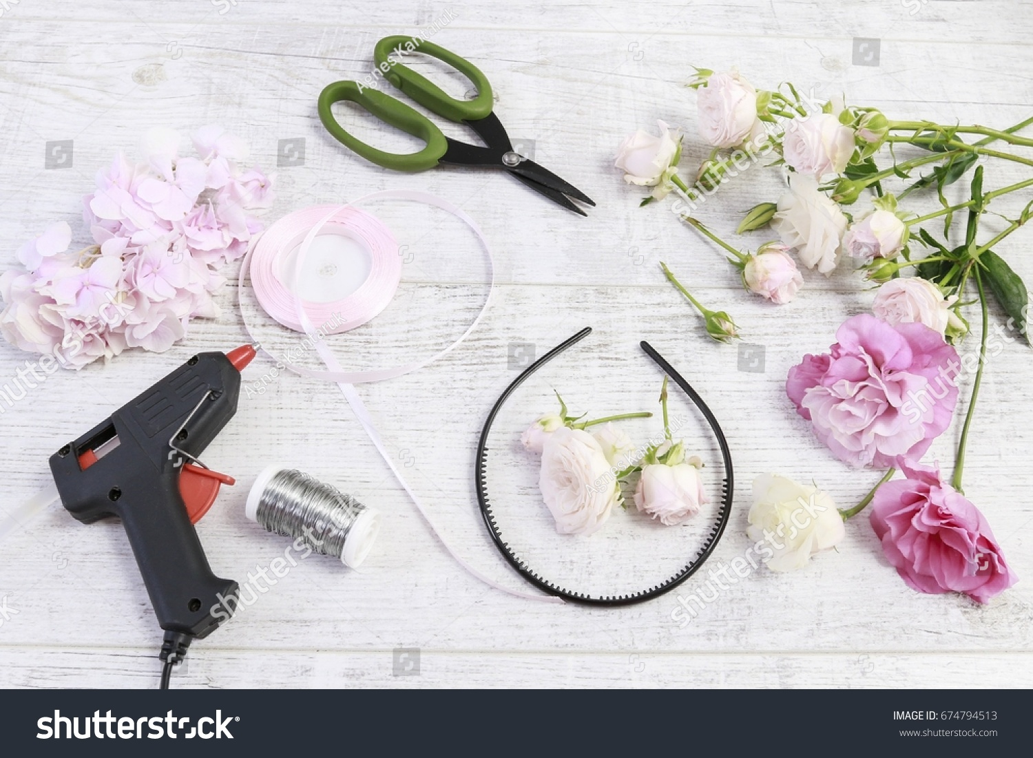 Florist work how make flower crown stock photo edit now shutterstock florist at work how to make flower crown with roses eustoma lisianthus izmirmasajfo