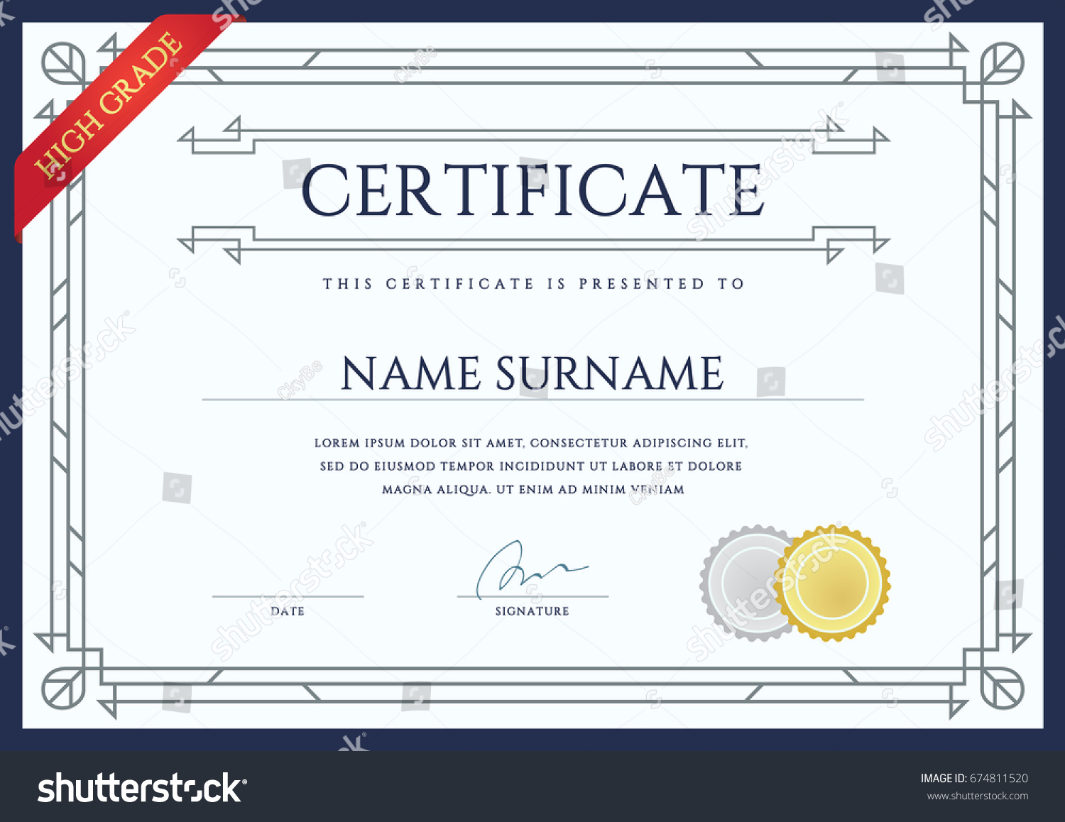 raster certificate diploma template ready print stock illustration  raster certificate or diploma template ready for print or use it on the internet