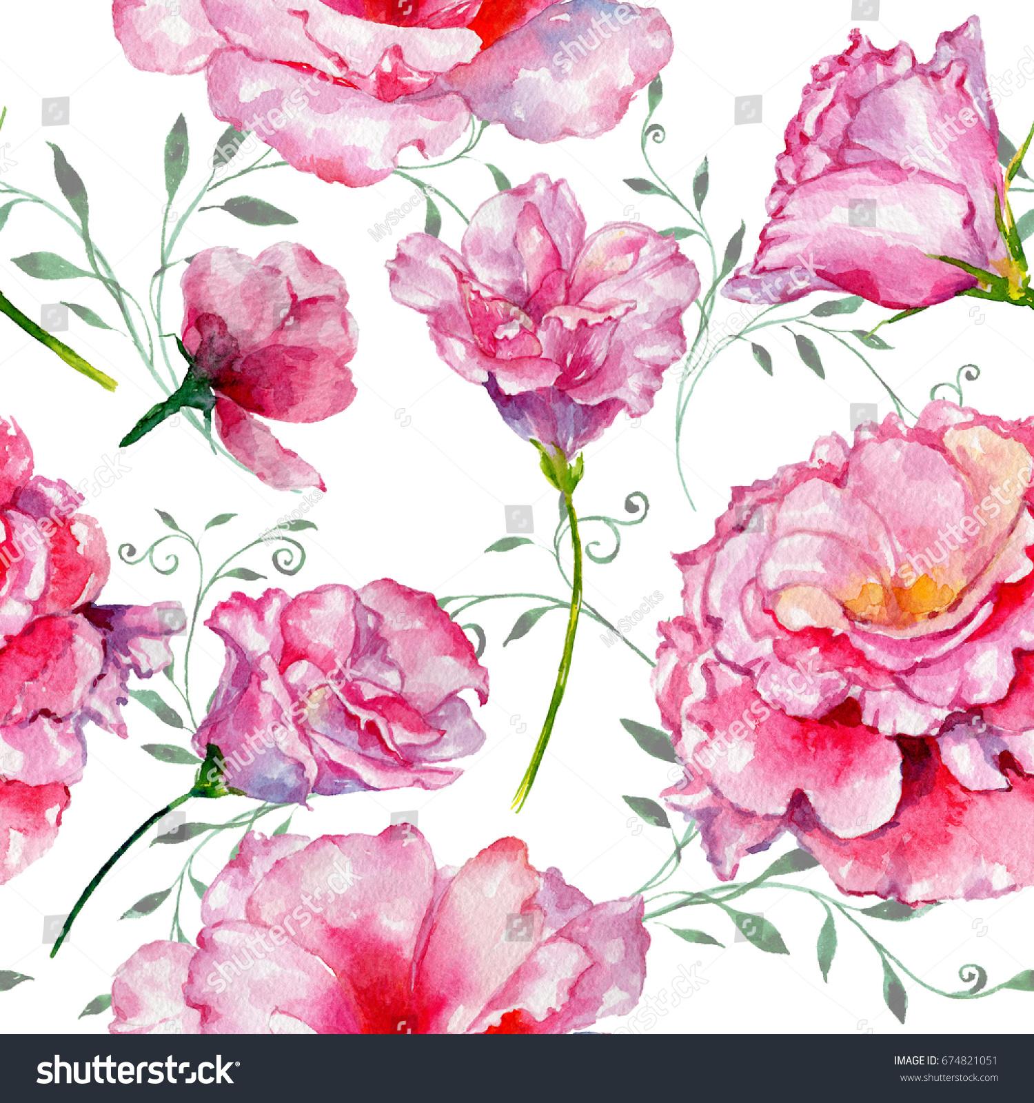 Spring Set Vintage Watercolor Bouquet Of Pink Roses Leaves Blooming