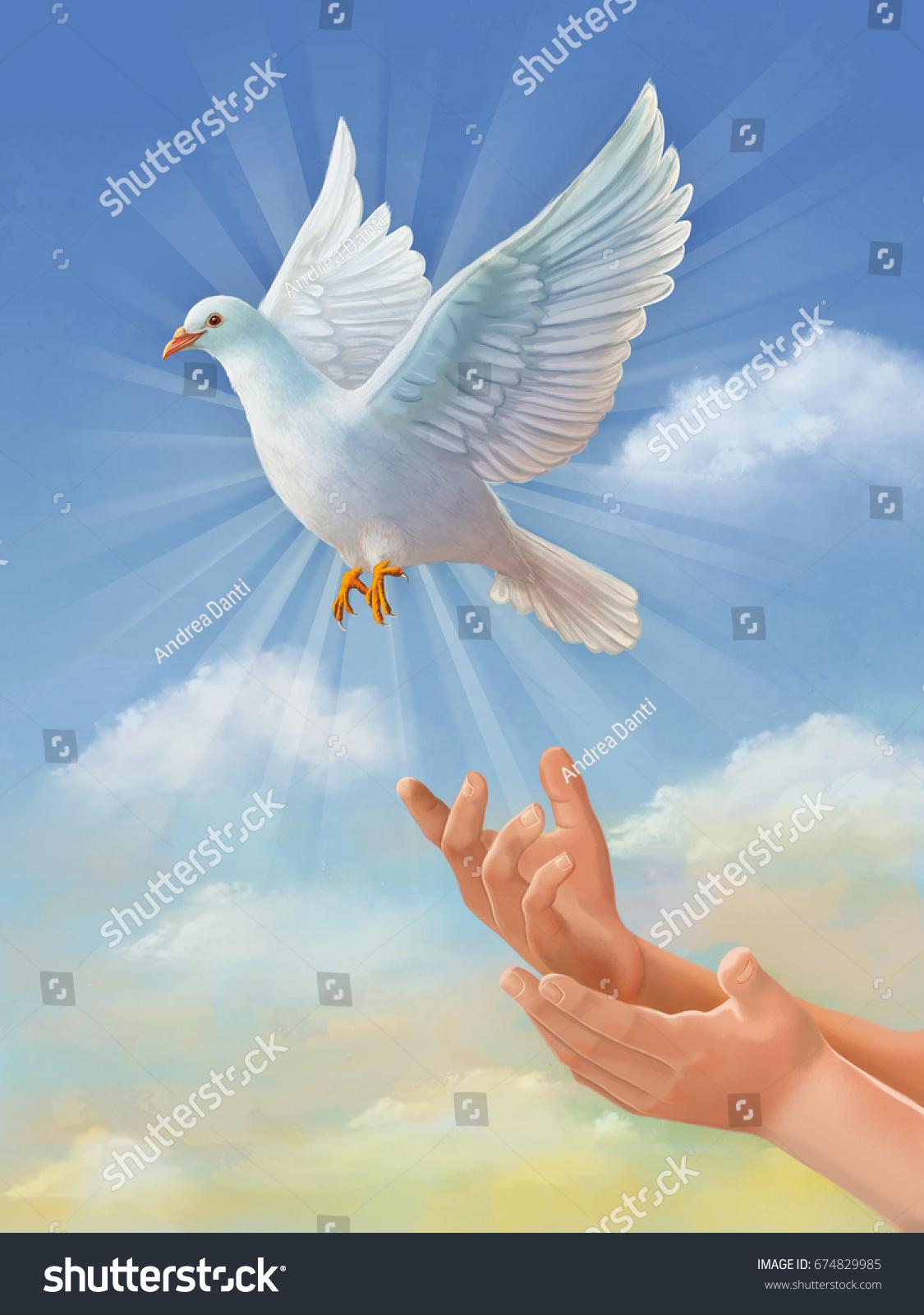 White Dove Symbol Peace Flying Through Stock Illustration 674829985