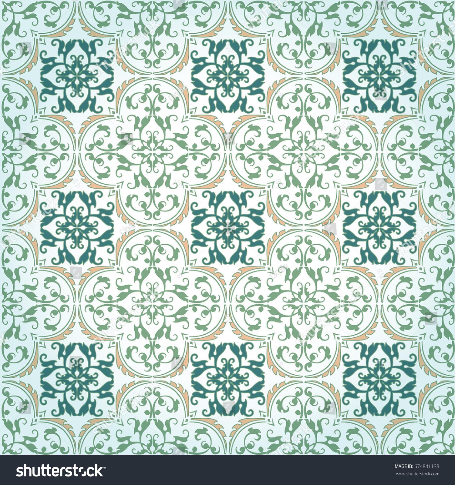 Seamless Damask Background Pattern Design Wallpaper Stock