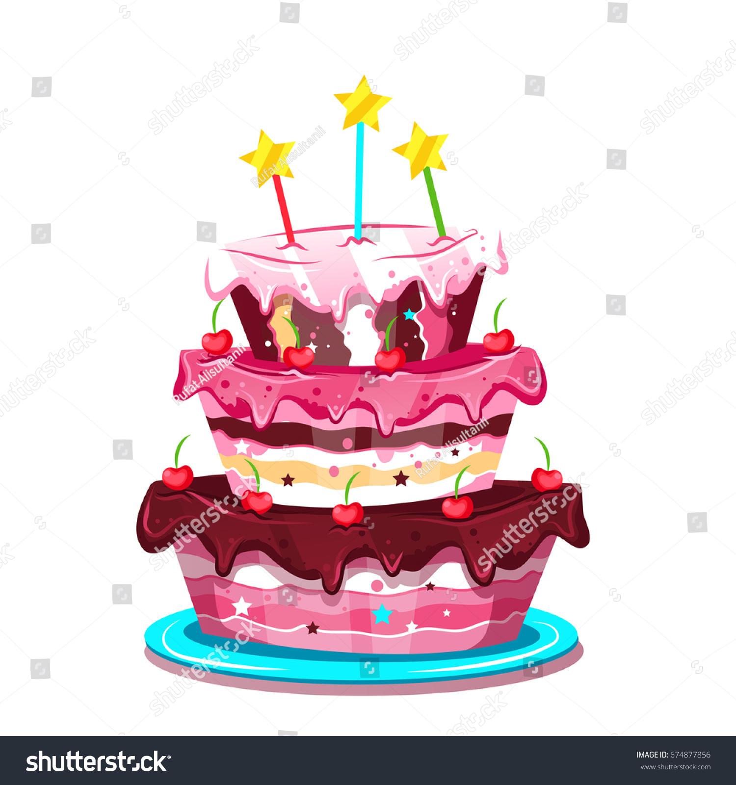 Big Cute Birthday Cake Vector Illustration Stock Vector Royalty