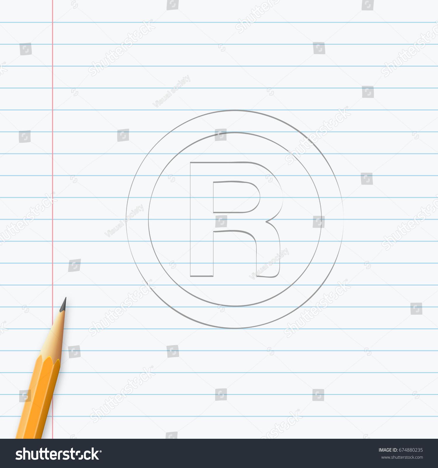 R Registered Trademark Symbol Hand Drawn Stock Vector Royalty Free