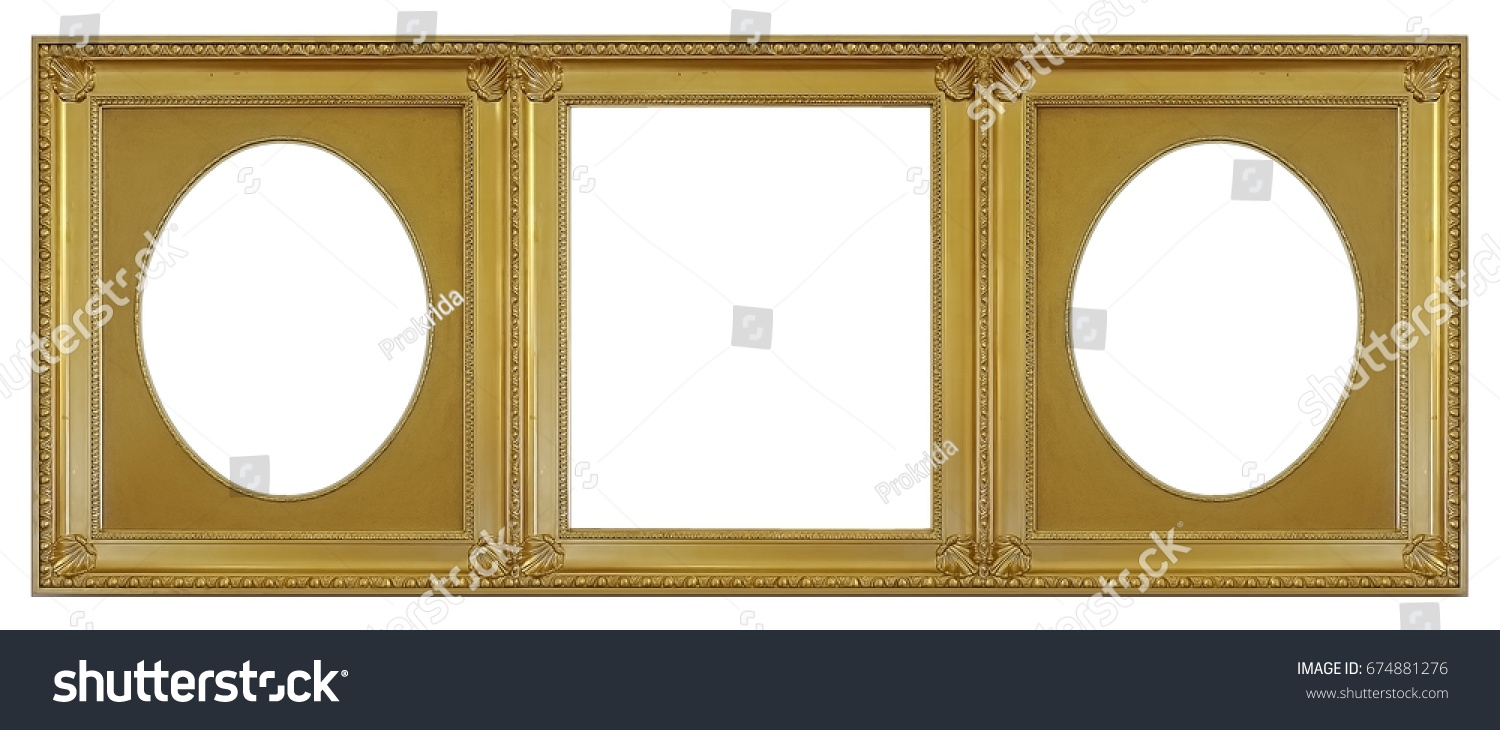 Gold Frame Three Parts Triptych On Stock Photo (Edit Now) 674881276 ...