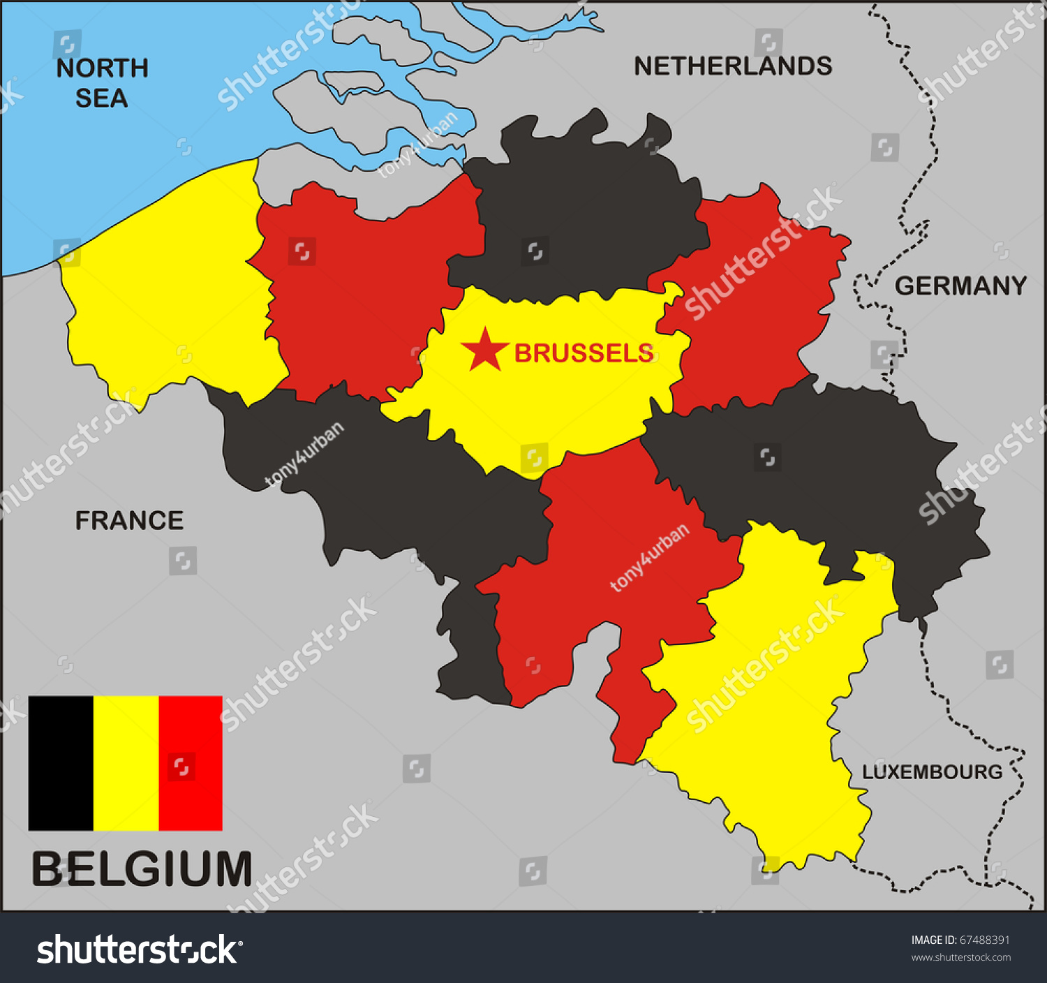 Political Map Belgium Country Flag Stock Illustration 67488391