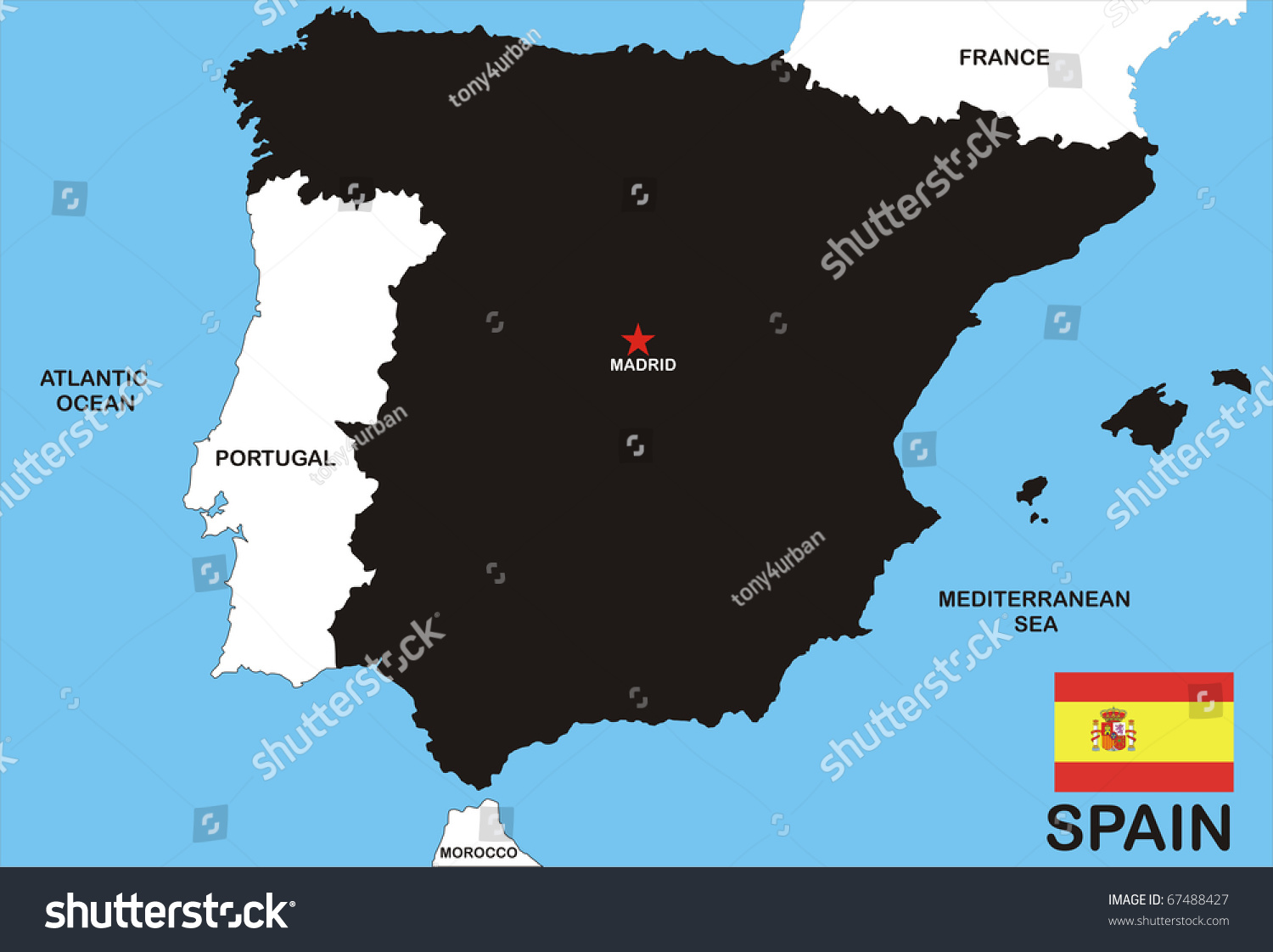 Spanish Map Of Spain.Map Spain Spanish Flag Illustration Stock Illustration Royalty
