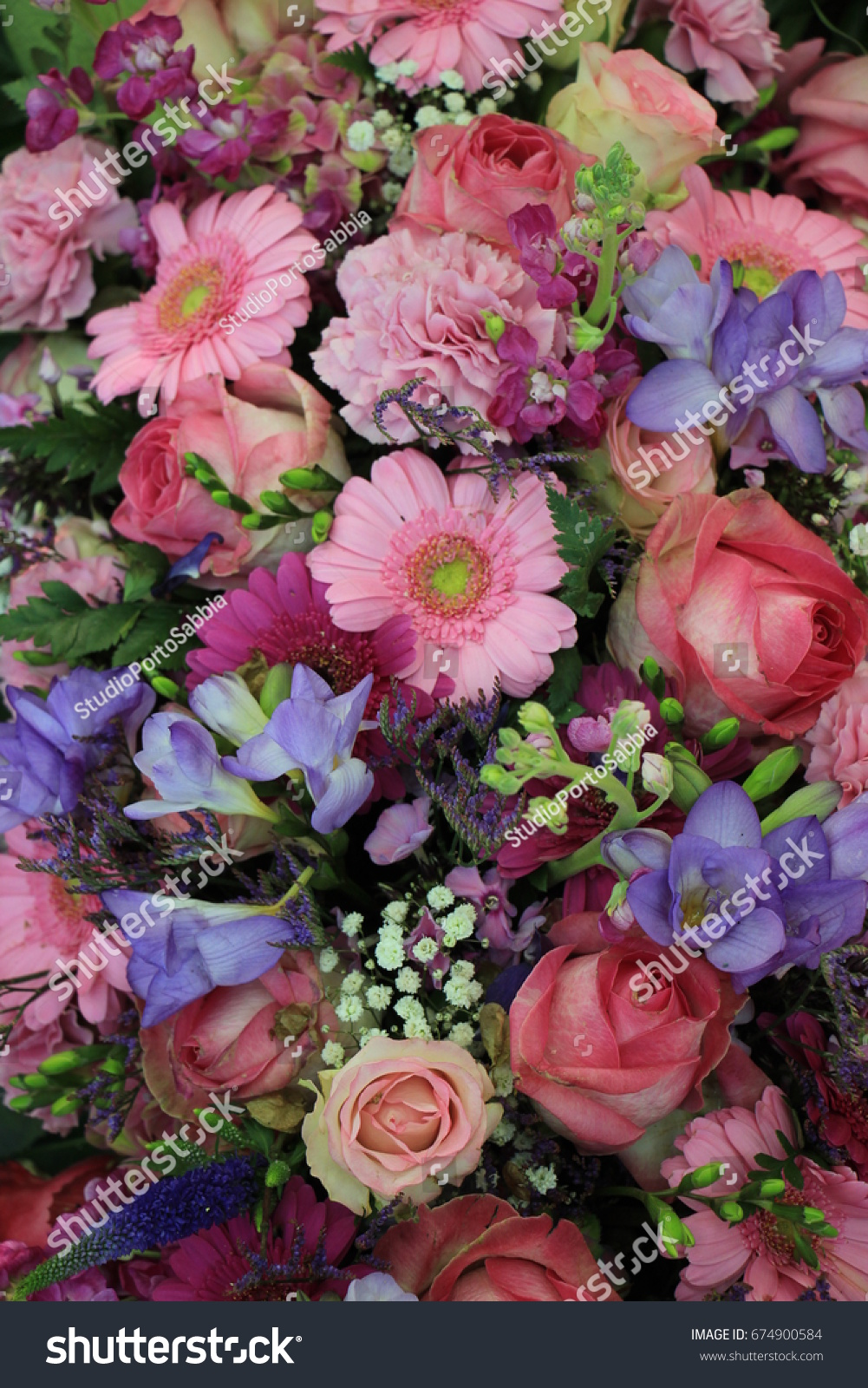 Mixed Pink Flower Arrangement Various Flowers Stock Photo Download