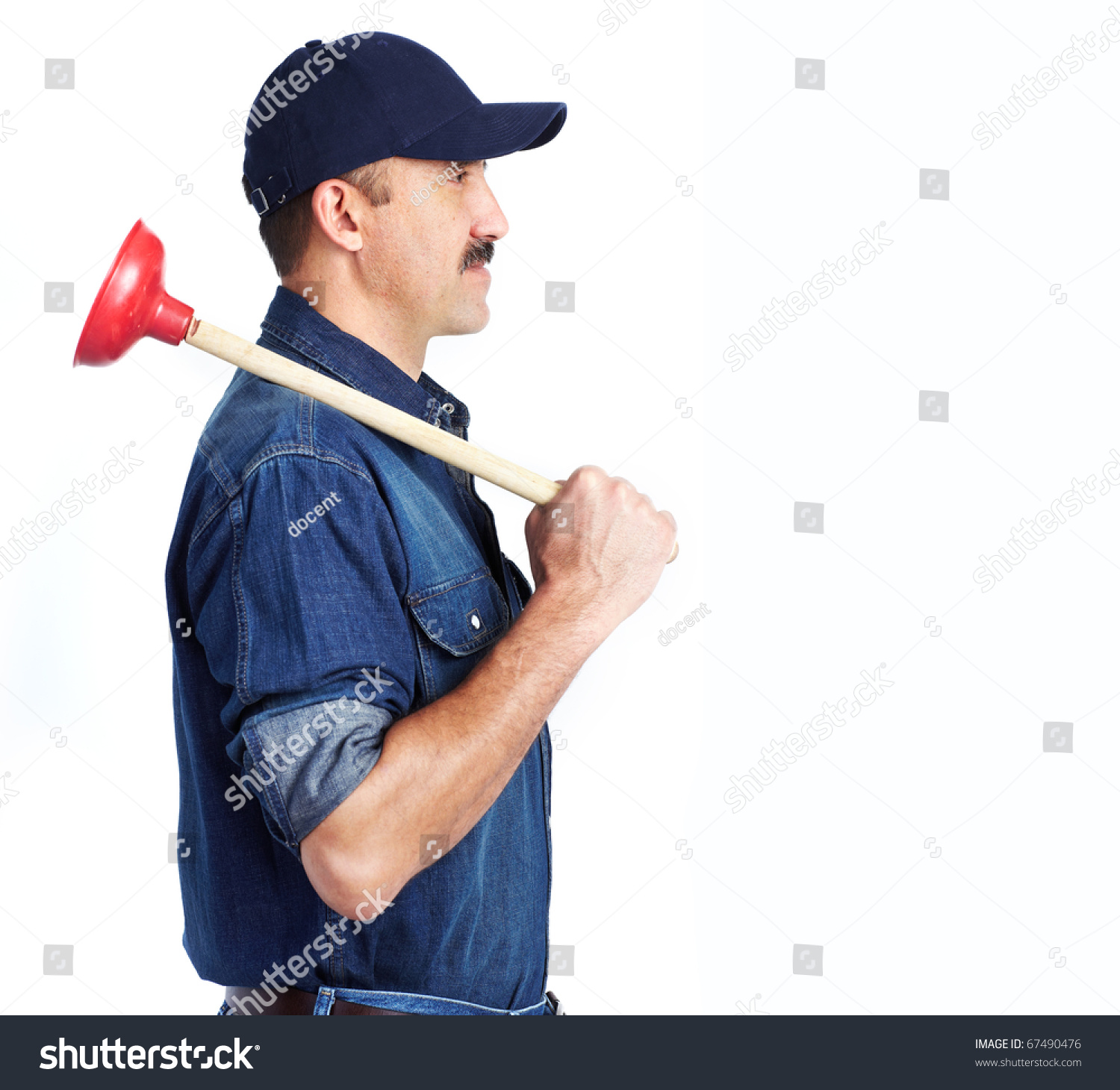 plumber with a toilet plunger isolated over white background stock photo 67490476 shutterstock. Black Bedroom Furniture Sets. Home Design Ideas