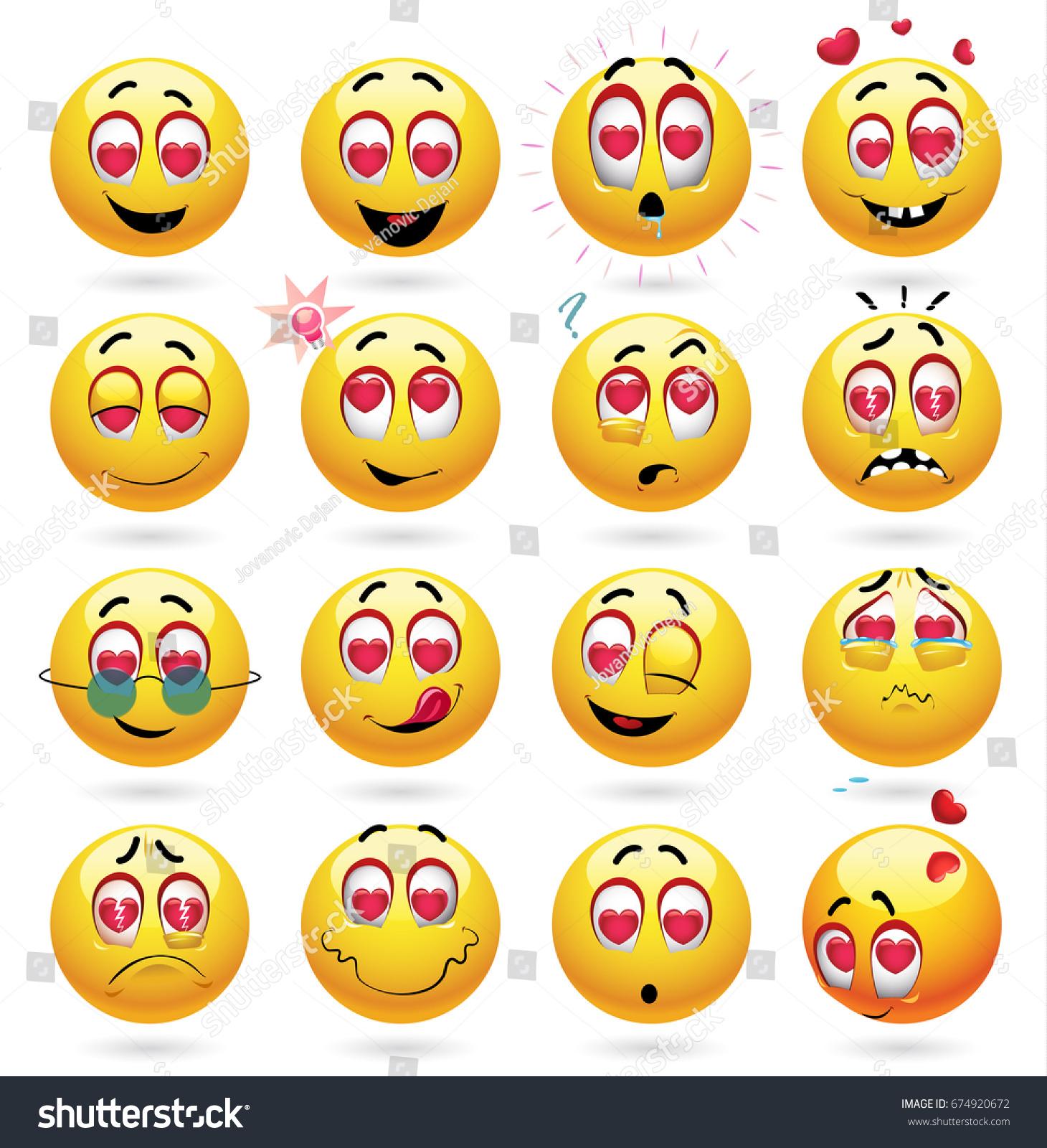 Cute Smiley Emoji Feeling Love Vector Stock Vector 674920672