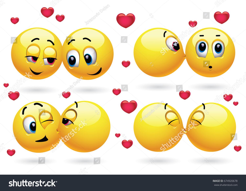 Cute Smiley Emoji Feeling Love Smiley Stock Vector 674920678