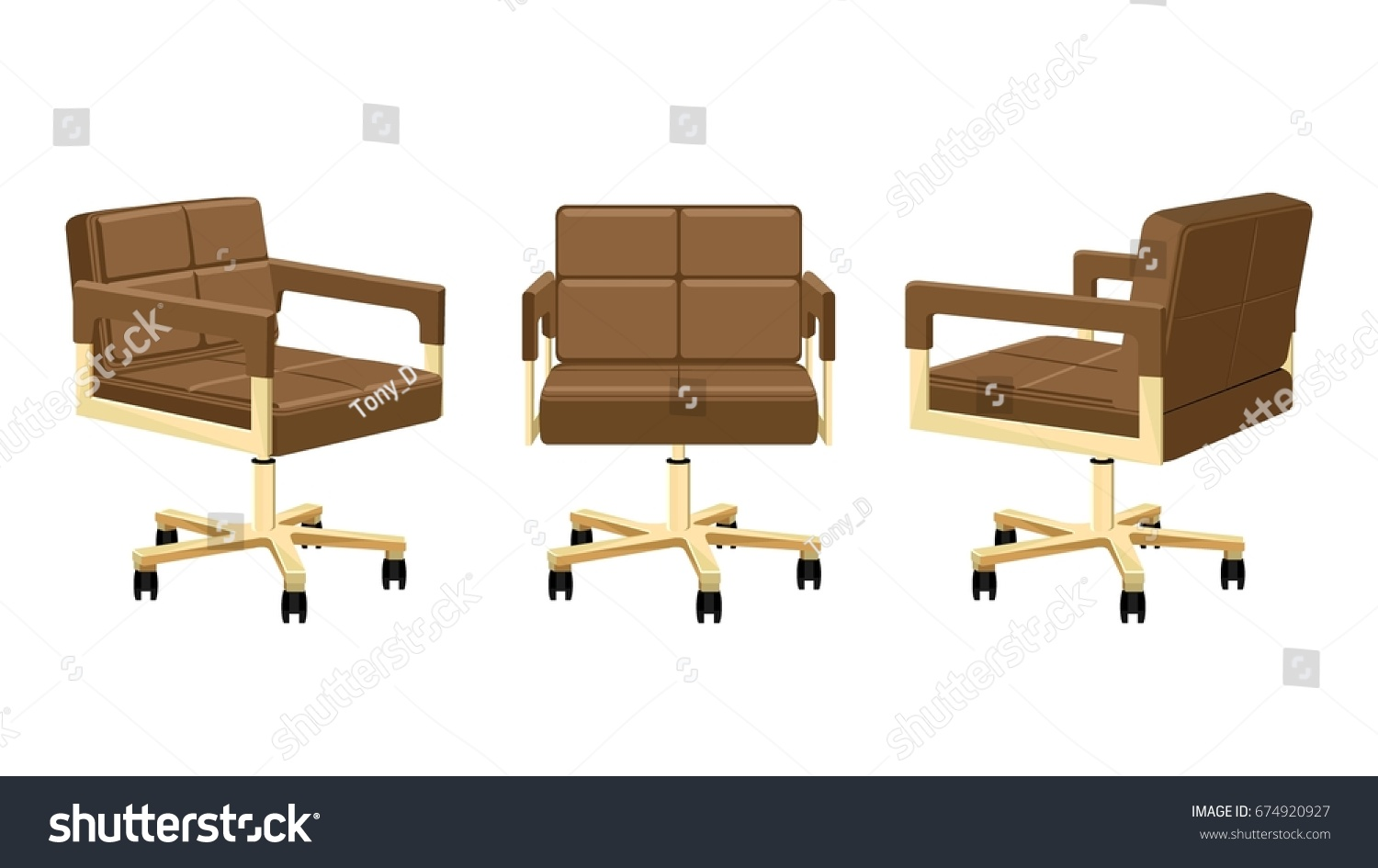 Office Chair Modern Armchair Lowback Brown Stock Vector Royalty Free 674920927