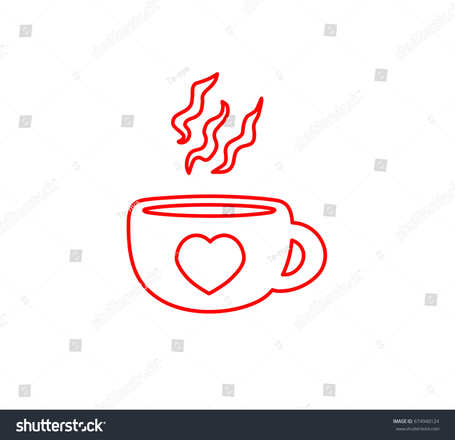 Beautiful simplistic hand drawn sign coffee stock vector 674940124 beautiful simplistic hand drawn sign of a coffee cup with fresh aroma heart pictogram biocorpaavc