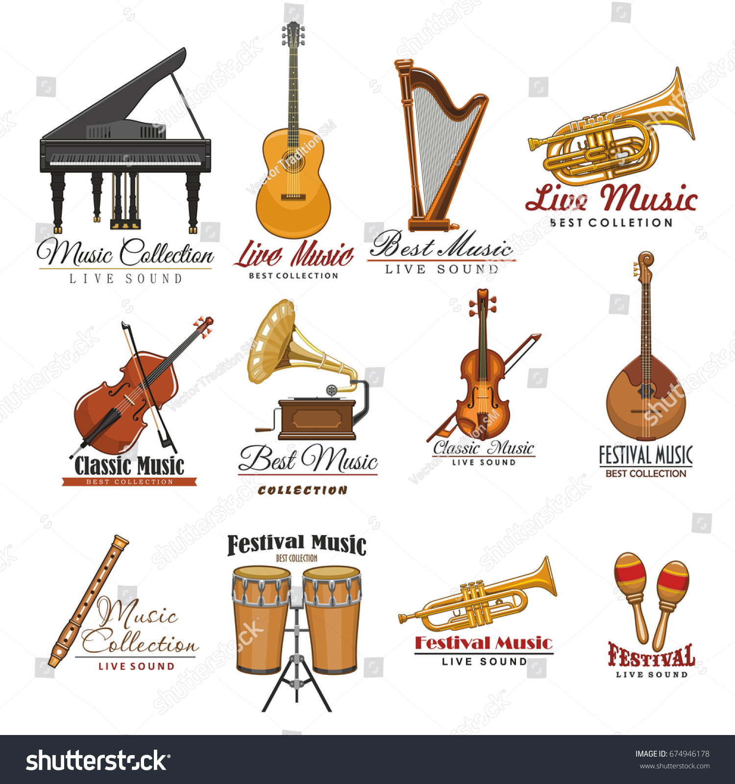 Music instrument festival live music symbols stock vector music instrument and festival of live music symbols guitar drum violin and harp biocorpaavc Gallery