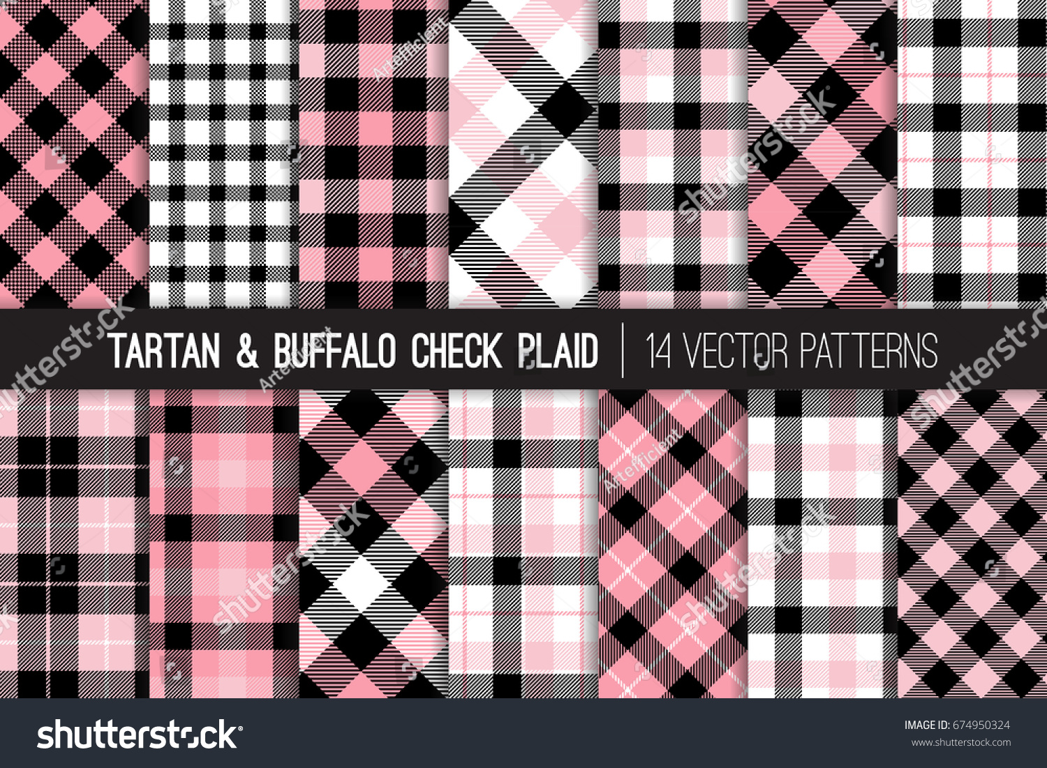 Pink black and white tartan and buffalo check plaid vector patterns preppy school uniform