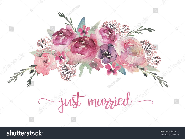Watercolor floral illustration - flower bouquet for wedding ...