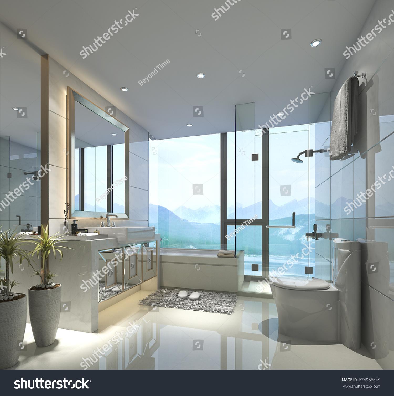 3 D Rendering Modern Classic Bathroom Luxury Stock Illustration ...